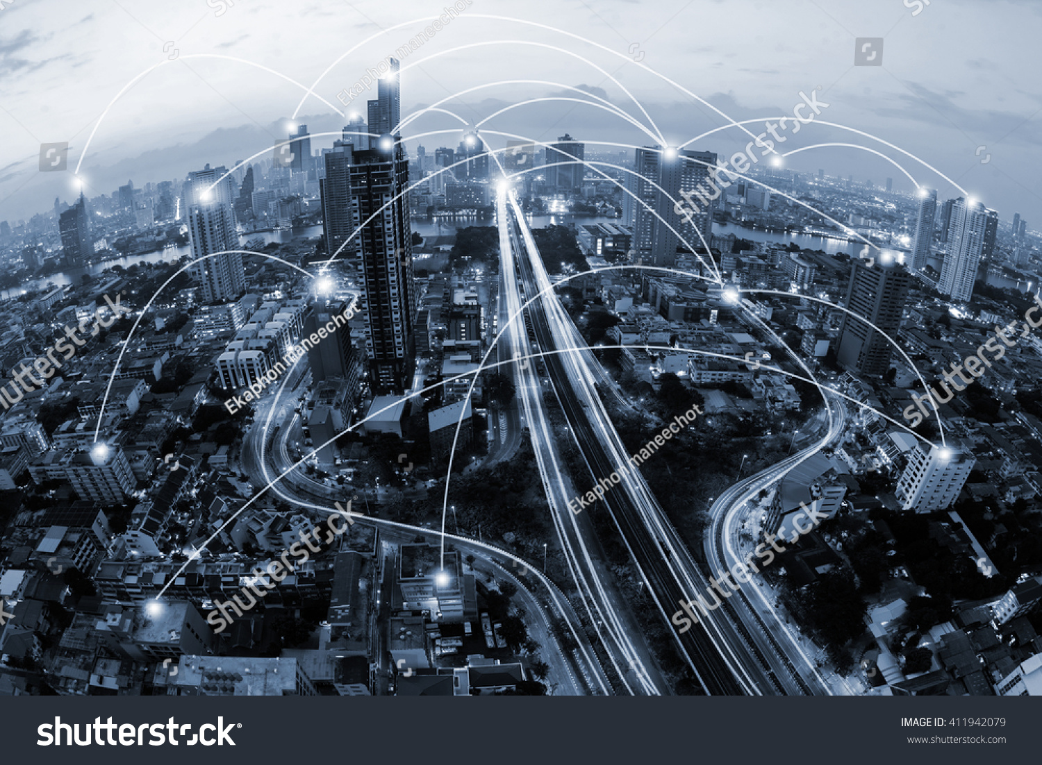 stock photo blue tone city scape and network connection concept 411942079 - asdasd