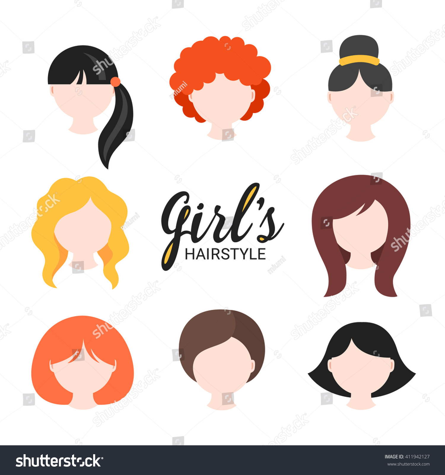 Set Different Girls Hairstyle Curly Wavy Stock Vector 411942127 Shutterstock