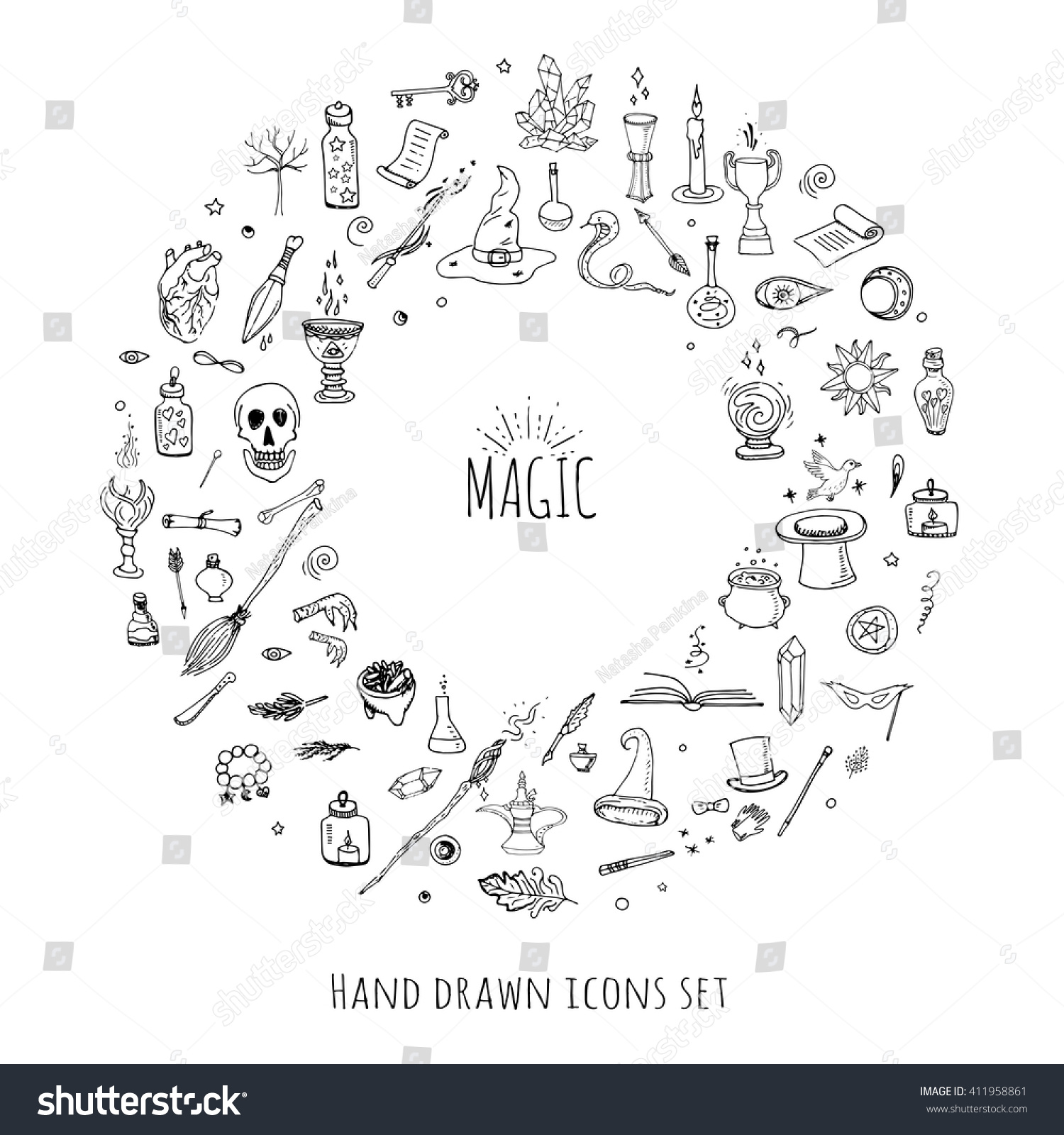 Hand drawn doodle magic set vector stock vector 411958861 vector illustration wizardry witchcraft symbols isolated icons collection cartoon buycottarizona