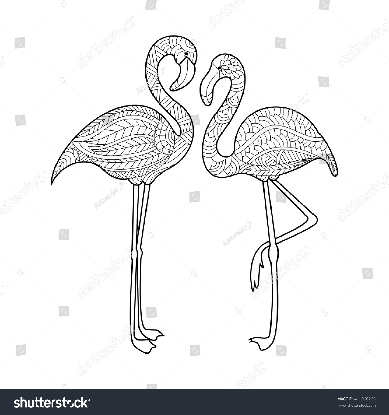 flamingo bird coloring book adults vector stock vector 411966265
