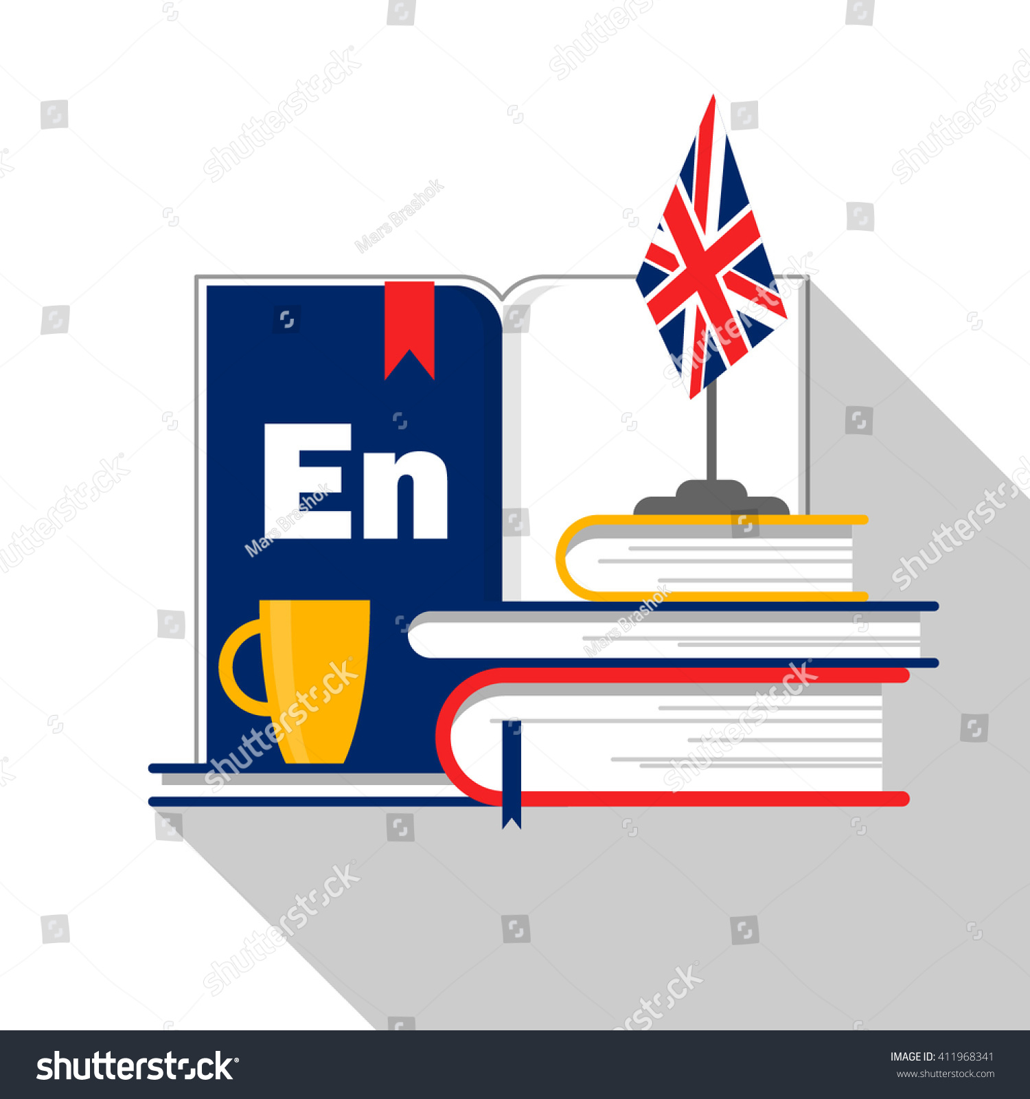 Symbol English Language Courses School Translation Stock Vector