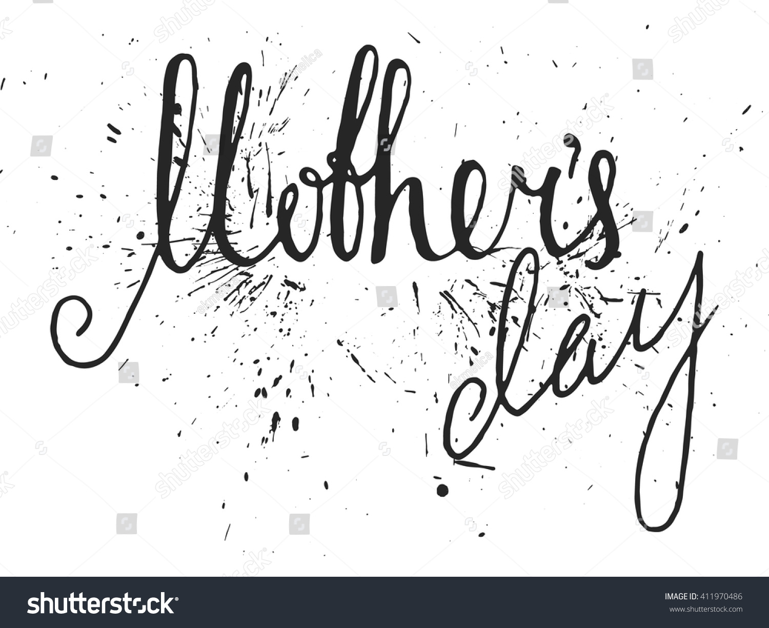 Mothers Day Handwriting Grunge Inscription On Stock Vector