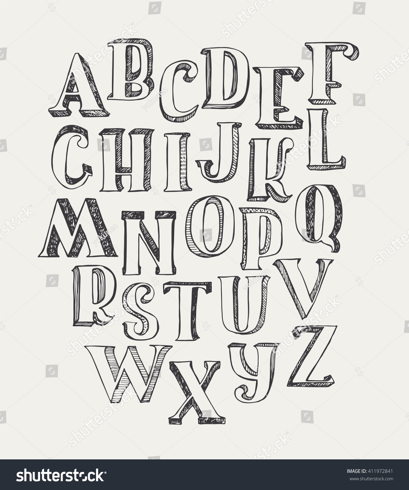 Hand Drawn ABC Letters Isolated On White Background Ink 3d Font