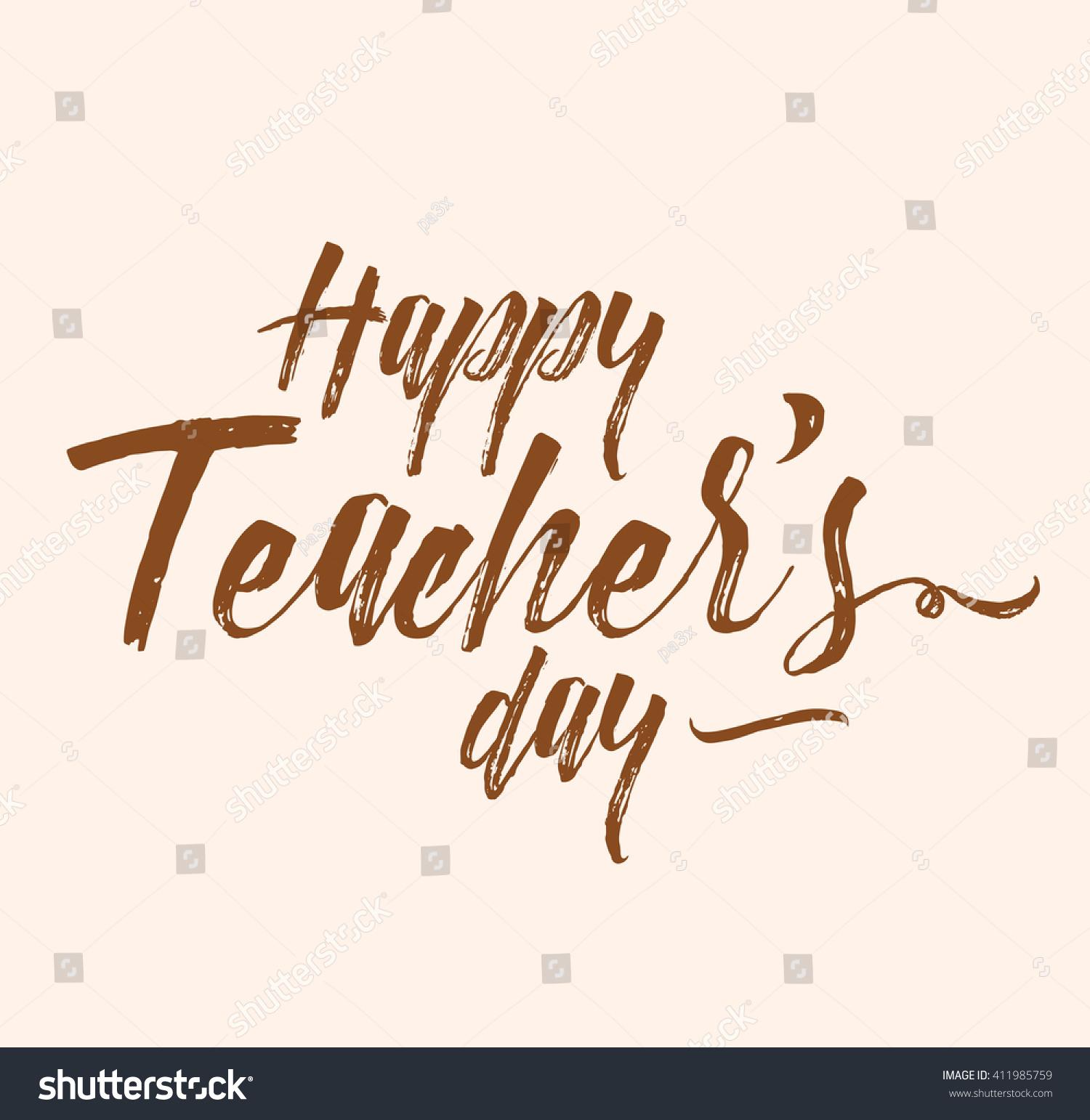Happy Teachers Day Vector Typography Lettering Stock Photo Photo