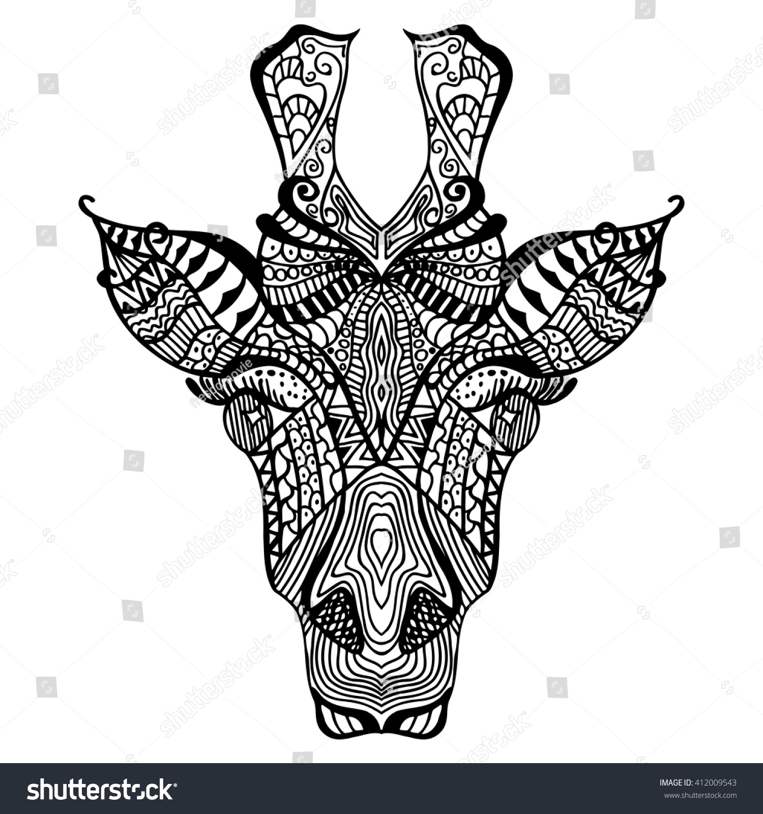 giraffe hand drawn giraffe ethnic floral stock vector 412009543