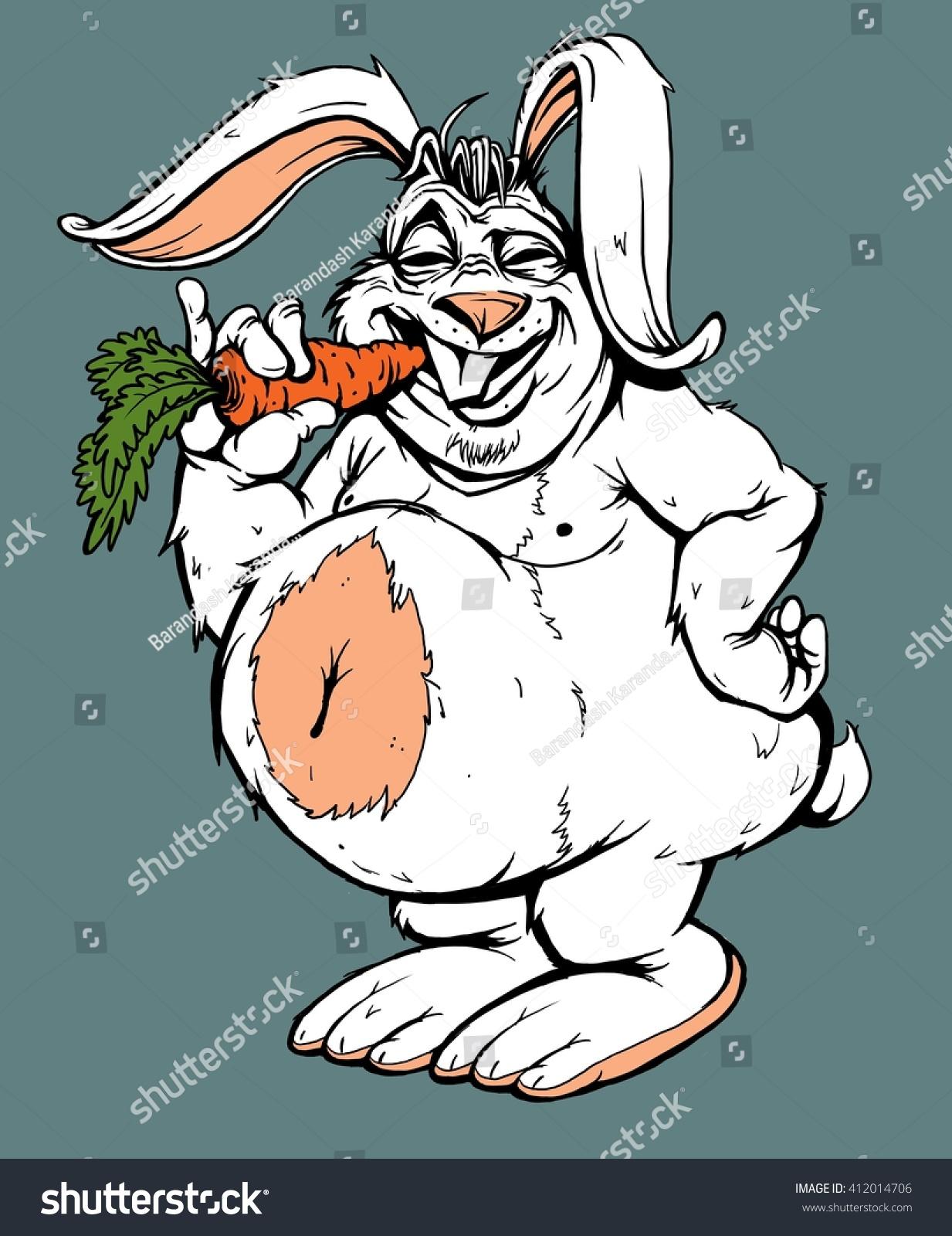 Royalty Free Stock Illustration Of Funny Fat Rabbit Carrot Cartoon