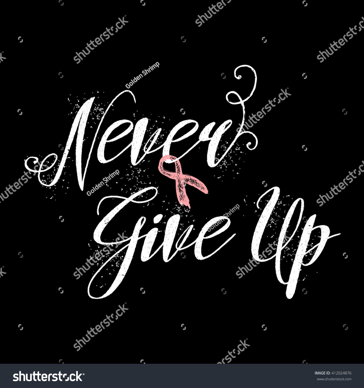 Breast Cancer Inspirational Quotes Never Give Inspirational Quote About Breast Stock Illustration