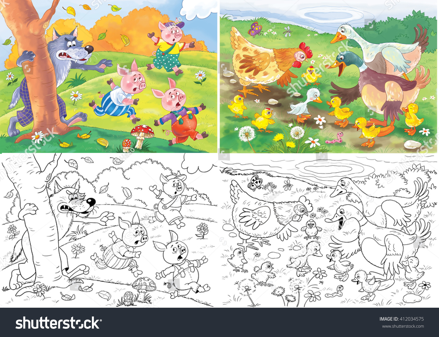 two fairy tales three little pigs stock illustration 412034575