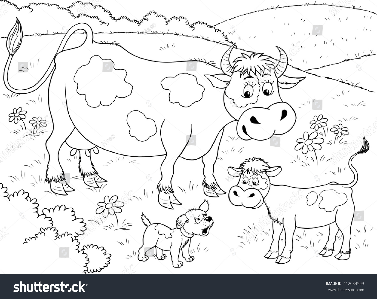 Cute Mother Cow And Her Baby Calf Illustration