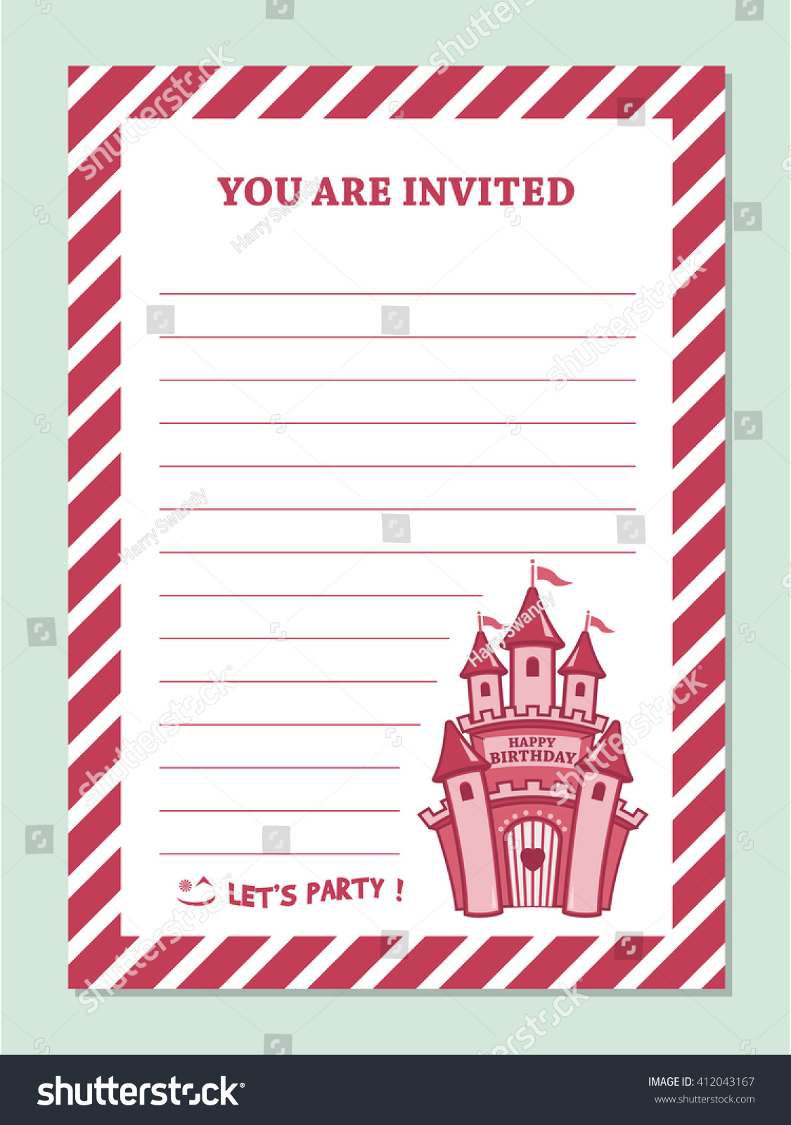 Princess Birthday Party Invitation Card Template Stock Vector ...