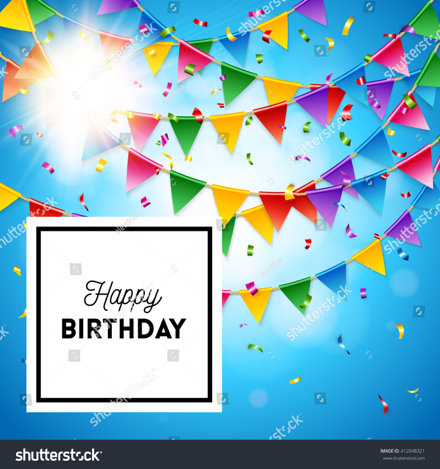 Vector bunting flags lovely celebration card with colorful paper - Full Frame Happy Birthday Card Or Announcement Stationery Template With Red Blue Purple