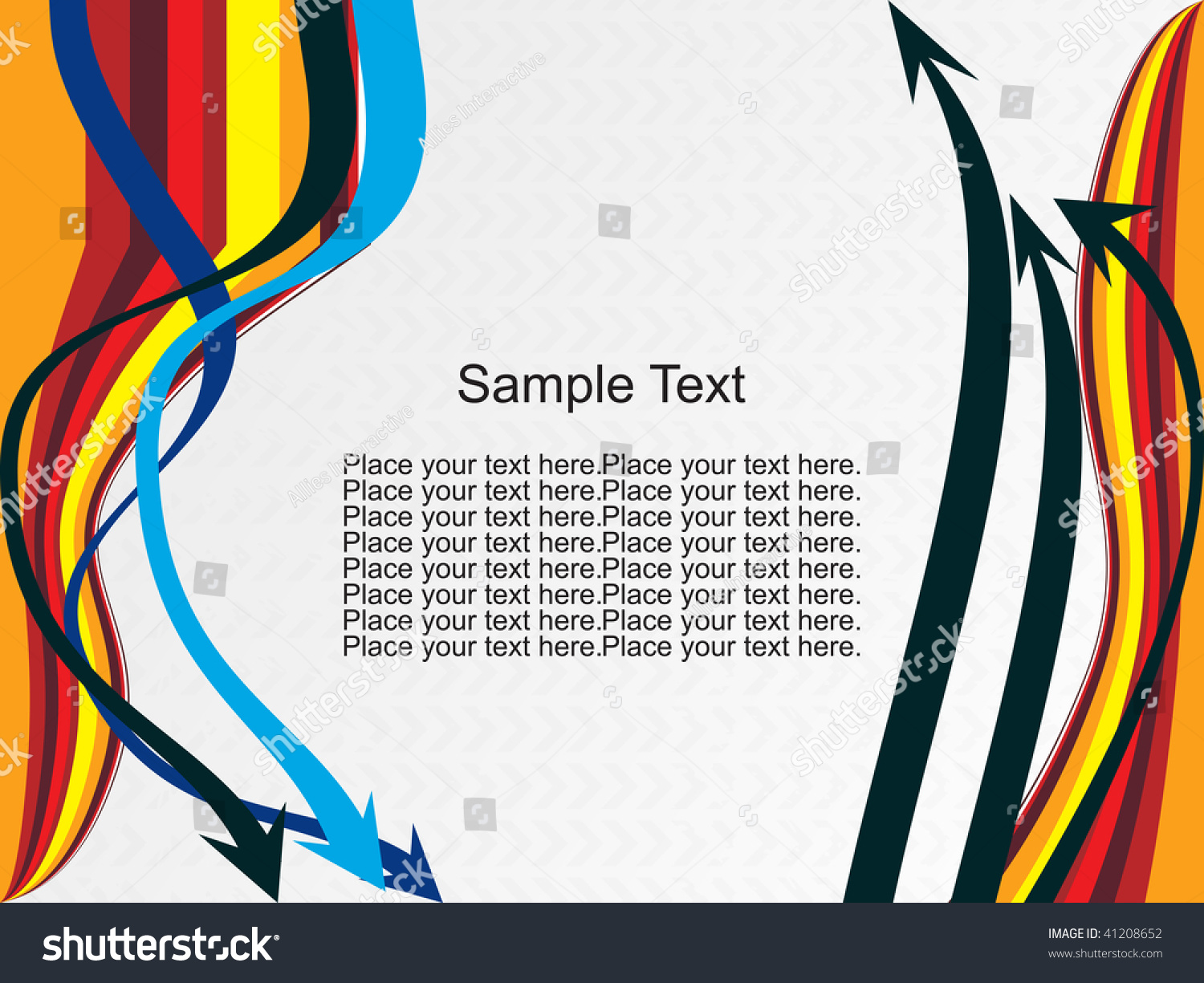 Color Abstract Vector Background Text Frame Stock Vector: Colorful Stripes Abstract Background Sample Text Stock
