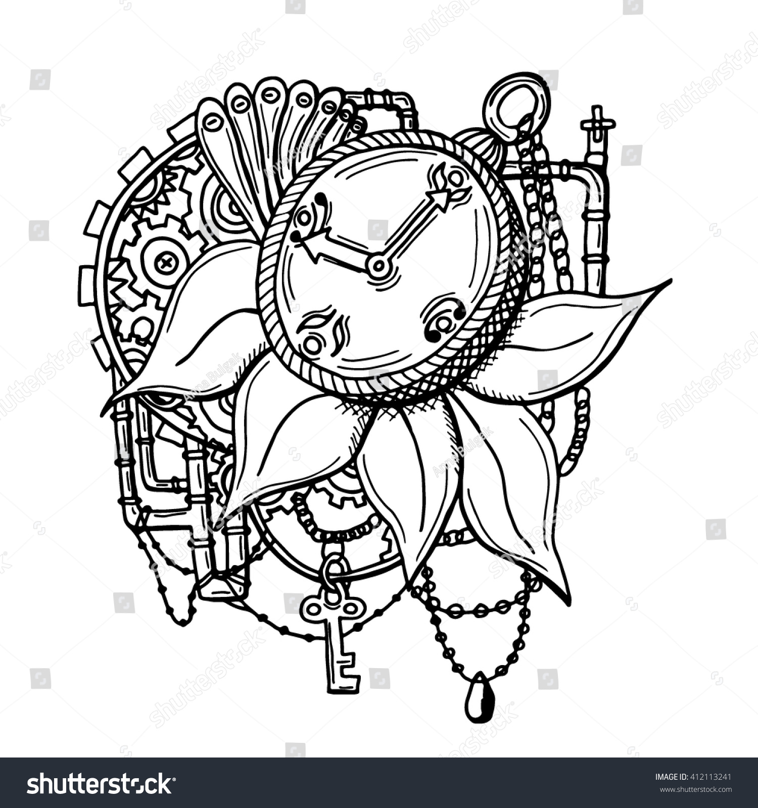 vintage pocket watch petails chains pipes stock vector 412113241