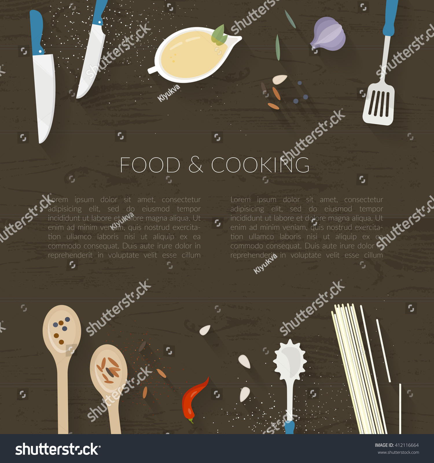 Selection of cartoons on cooking kitchens food and eating - Vector Cooking Time Illustration With Flat Icons Fresh Food And Materials On Kitchen Table In