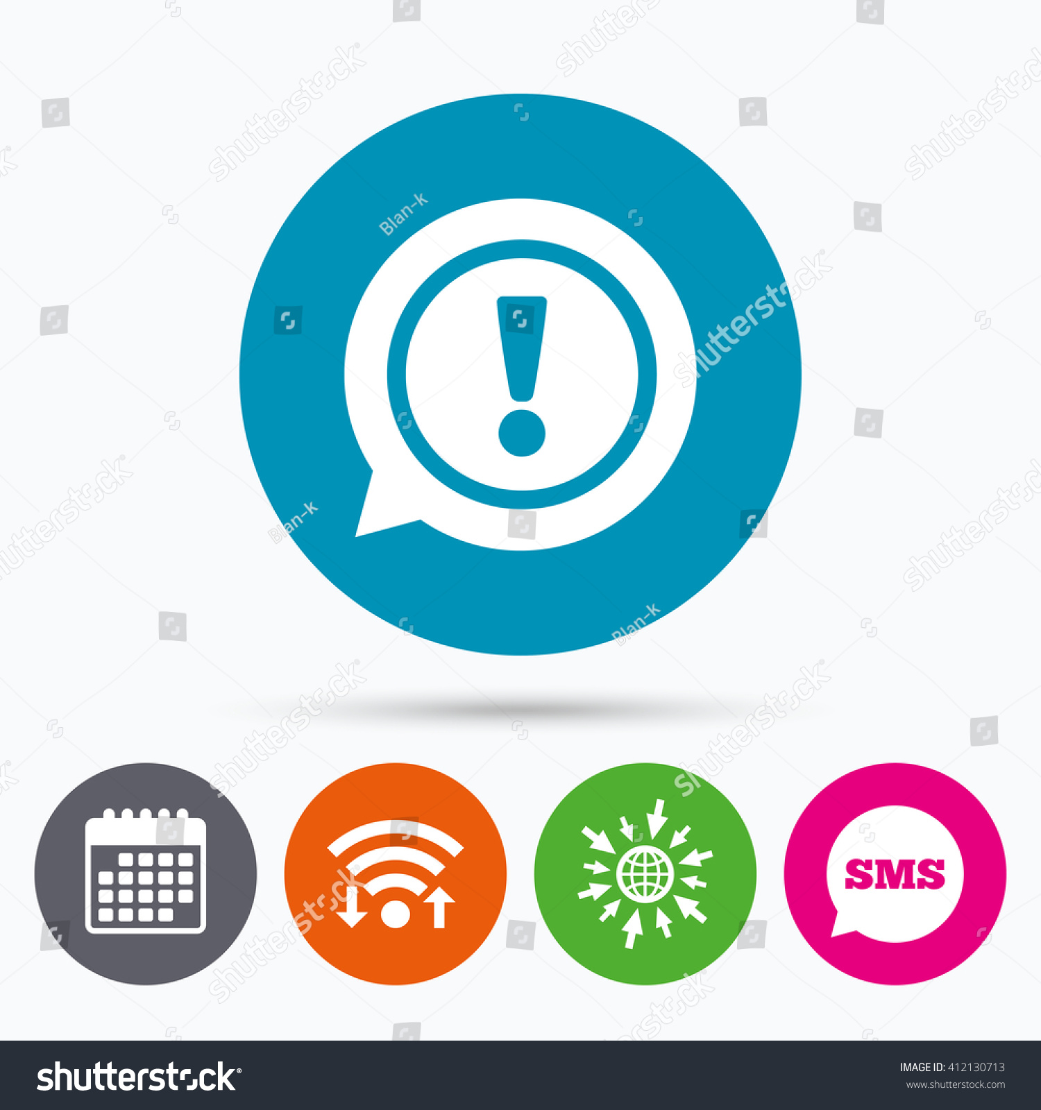 Wifi sms calendar icons exclamation mark stock vector 412130713 wifi sms and calendar icons exclamation mark sign icon attention speech bubble symbol biocorpaavc