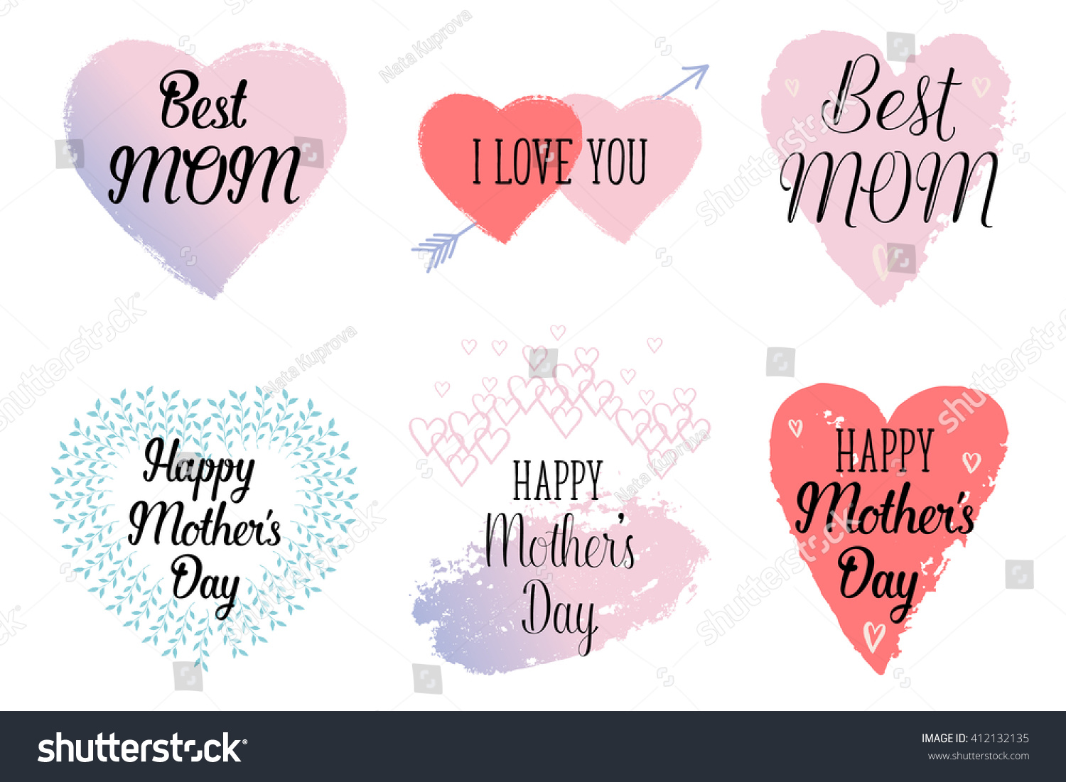 Happy Motherss Day Love You Best Stock Vector Royalty Free