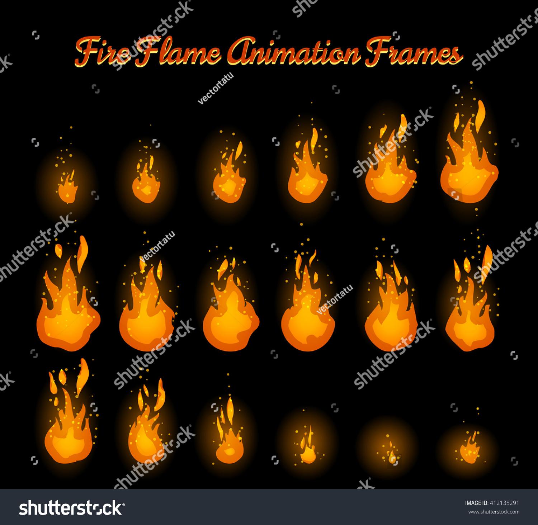 Fire Flame Animation Frames Fire Trap Stock-Vektorgrafik (Lizenzfrei ...