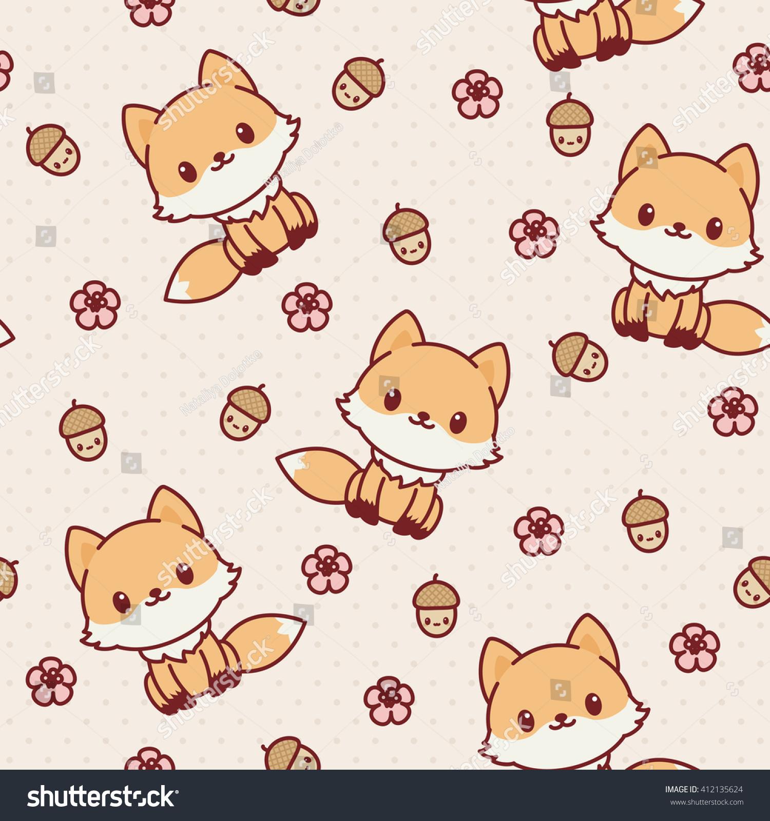 Kawaii Fox Seamless Wallpaper Vector Pattern