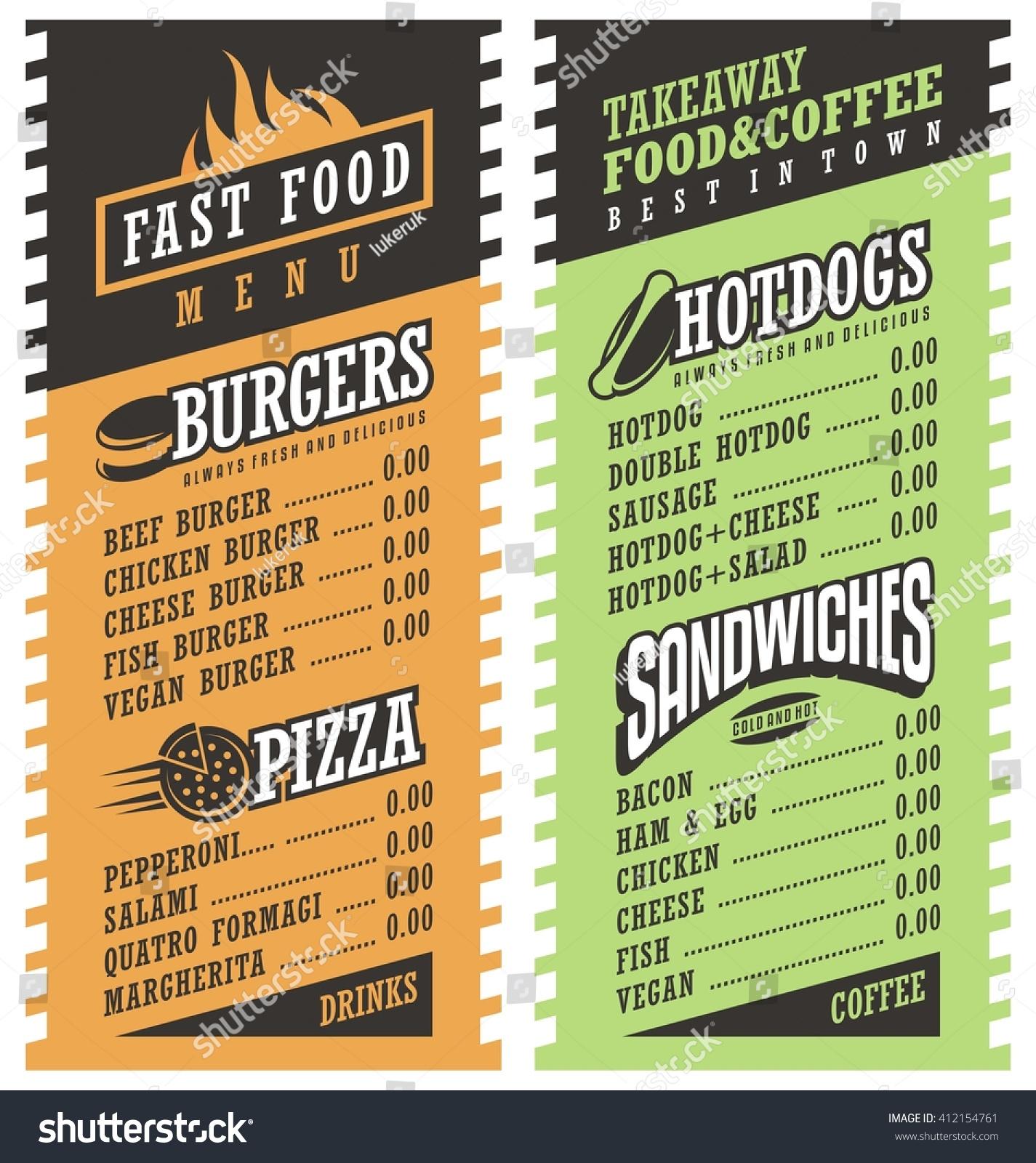 Fast food simple menu design template stock vector for Simple html menu template