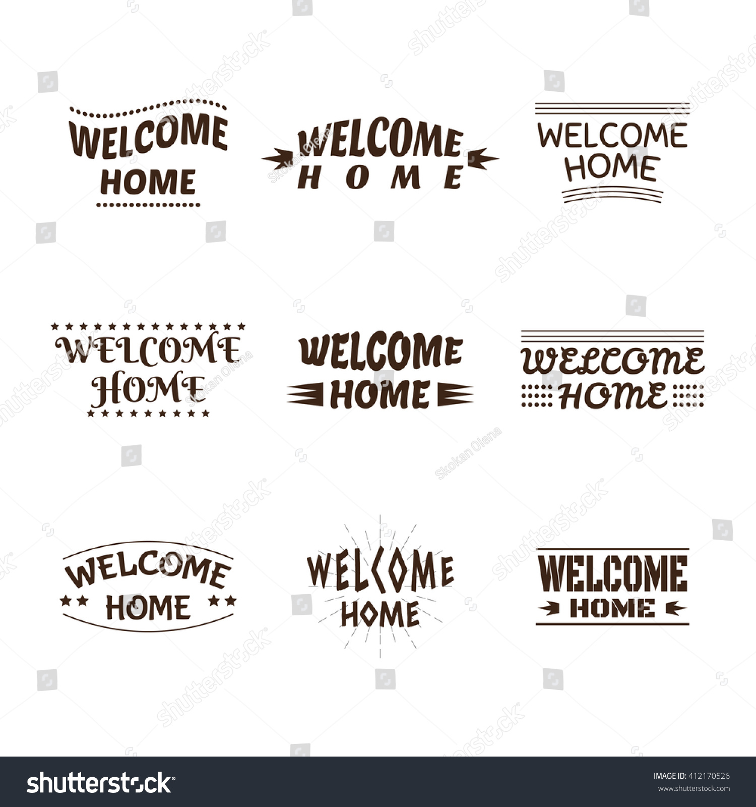 home designer collection. Welcome home design collection  Set of 9 labels emblems stickers or badges Home Design Collection Stock Vector 412170526