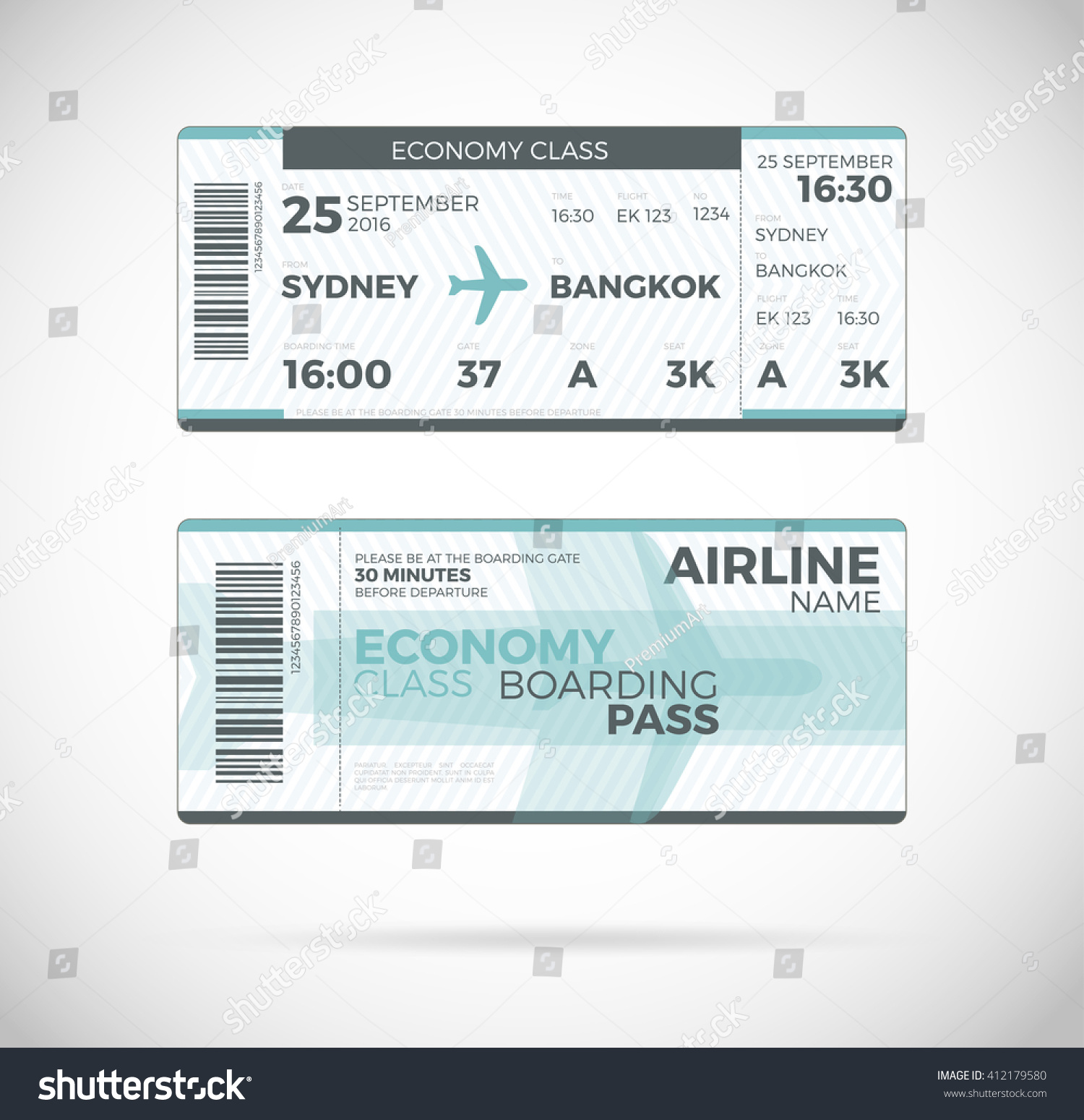 Airline boarding pass economy class ticket stock vector for Fake boarding pass template