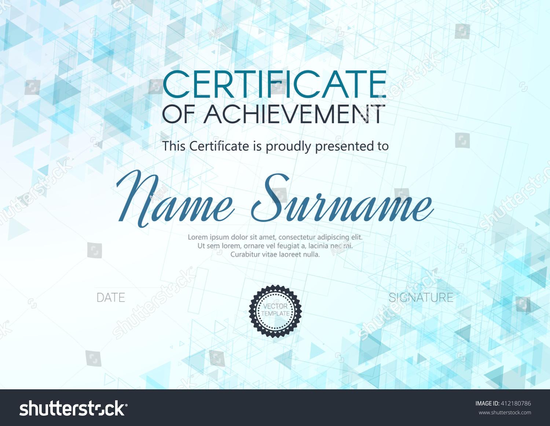Certificate Diploma Template Design Certificate Achievement Stock