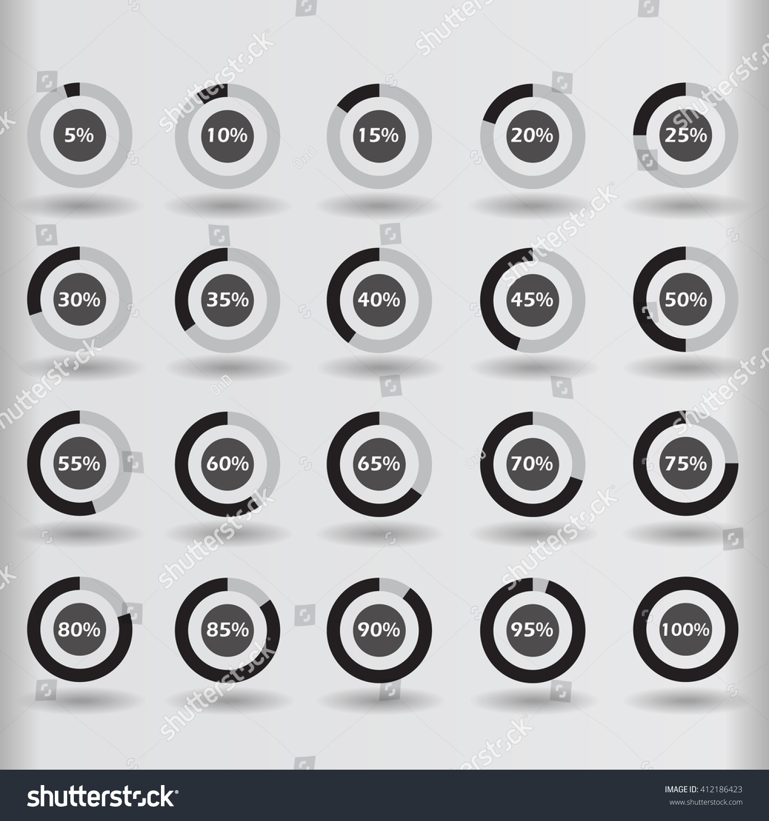 Icons Template Pie Graph Circle Percentage Stock Illustration ...
