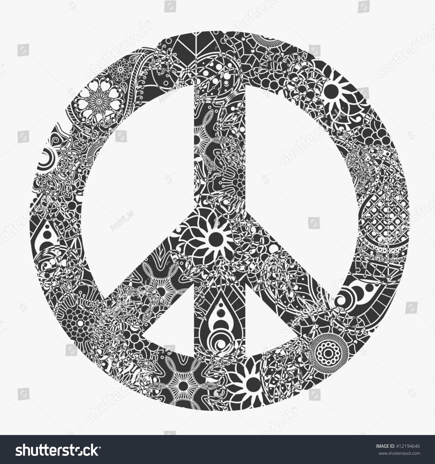 Peace Symbol Round Pacifism Sign Black Stock Illustration 412194646
