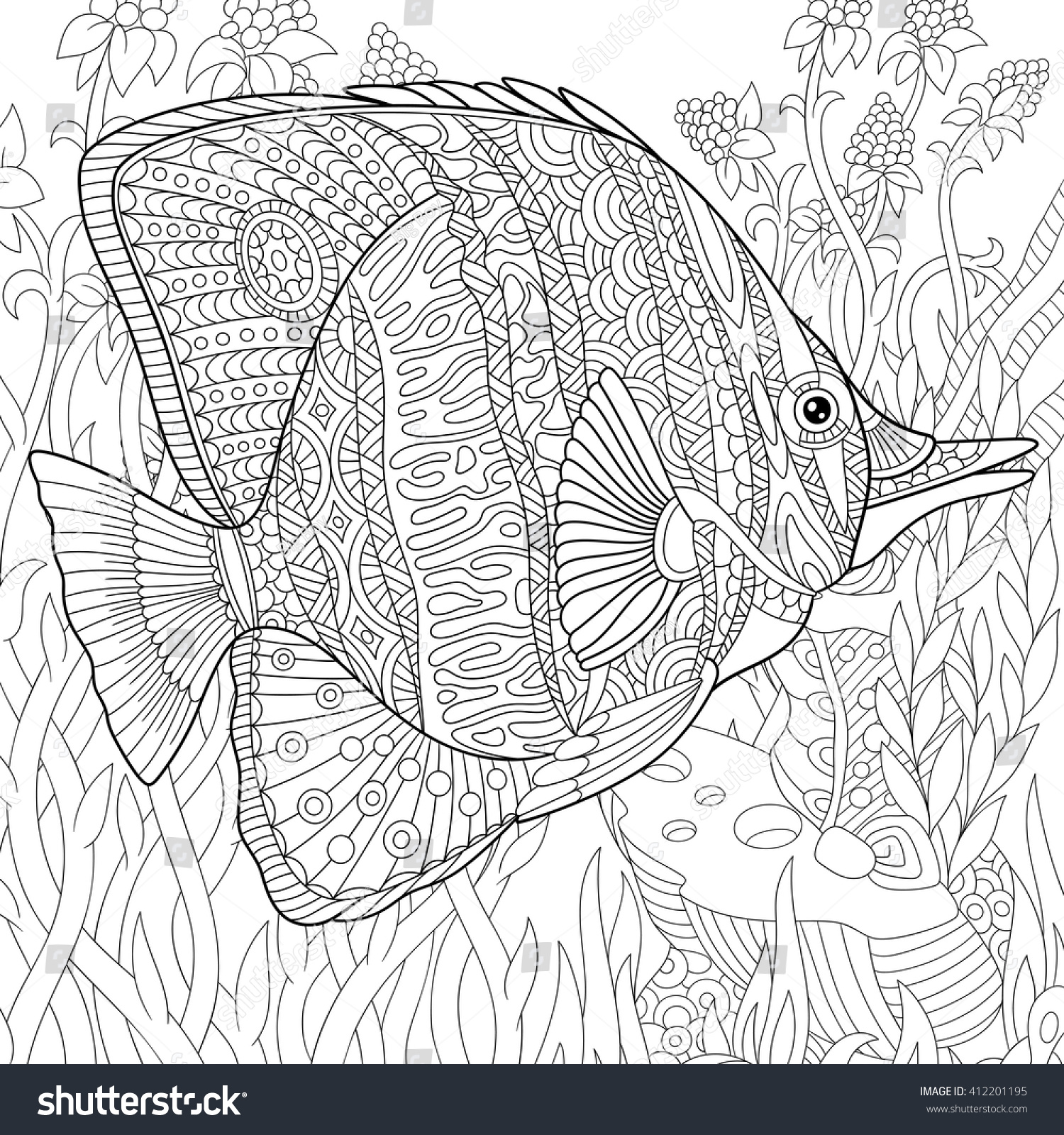 zentangle stylized cartoon butterfly fish swimming stock vector