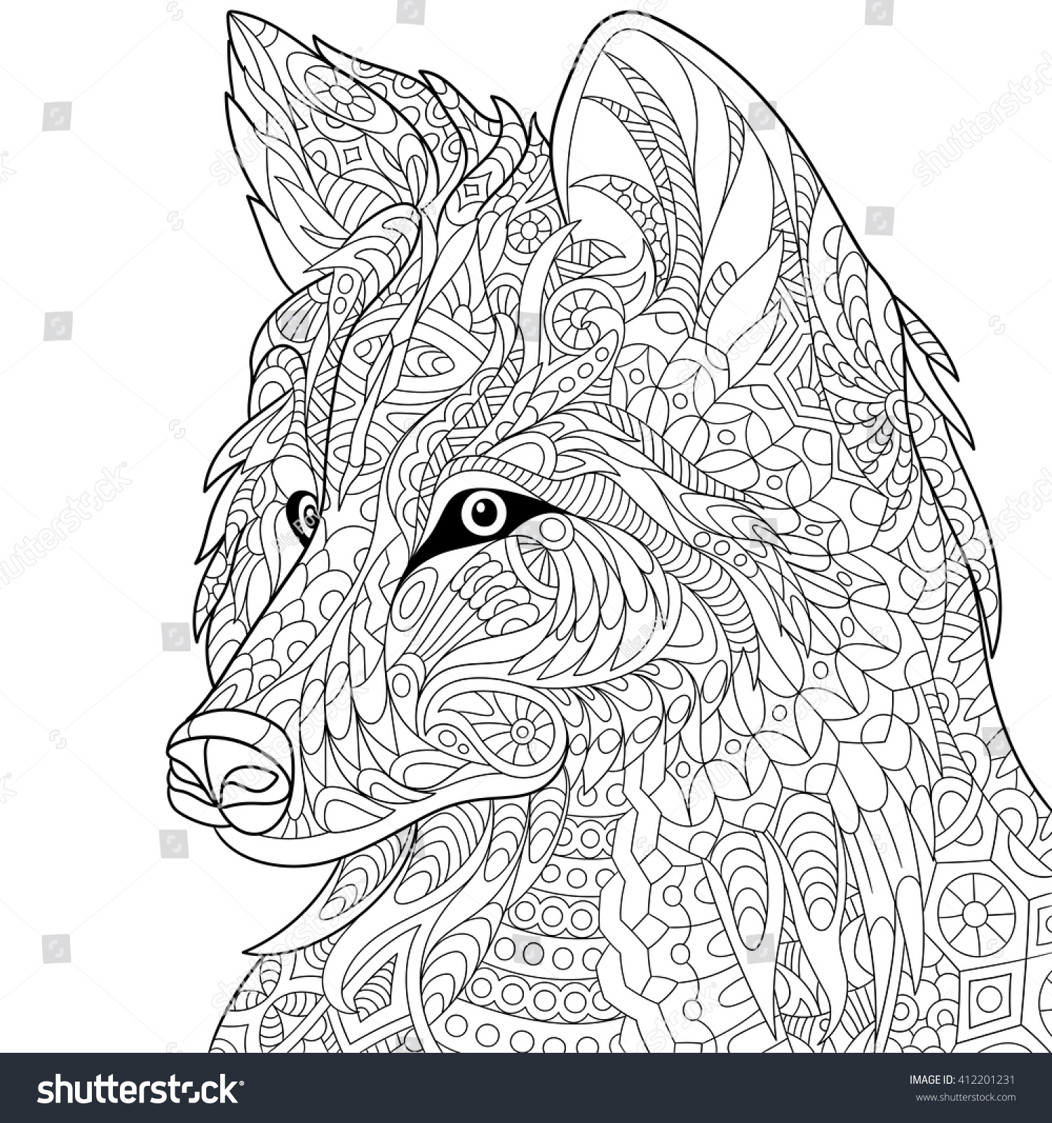 Coloring pages for adults wolf - Zentangle Stylized Cartoon Wolf Isolated On White Background Hand Drawn Sketch For Adult Antistress