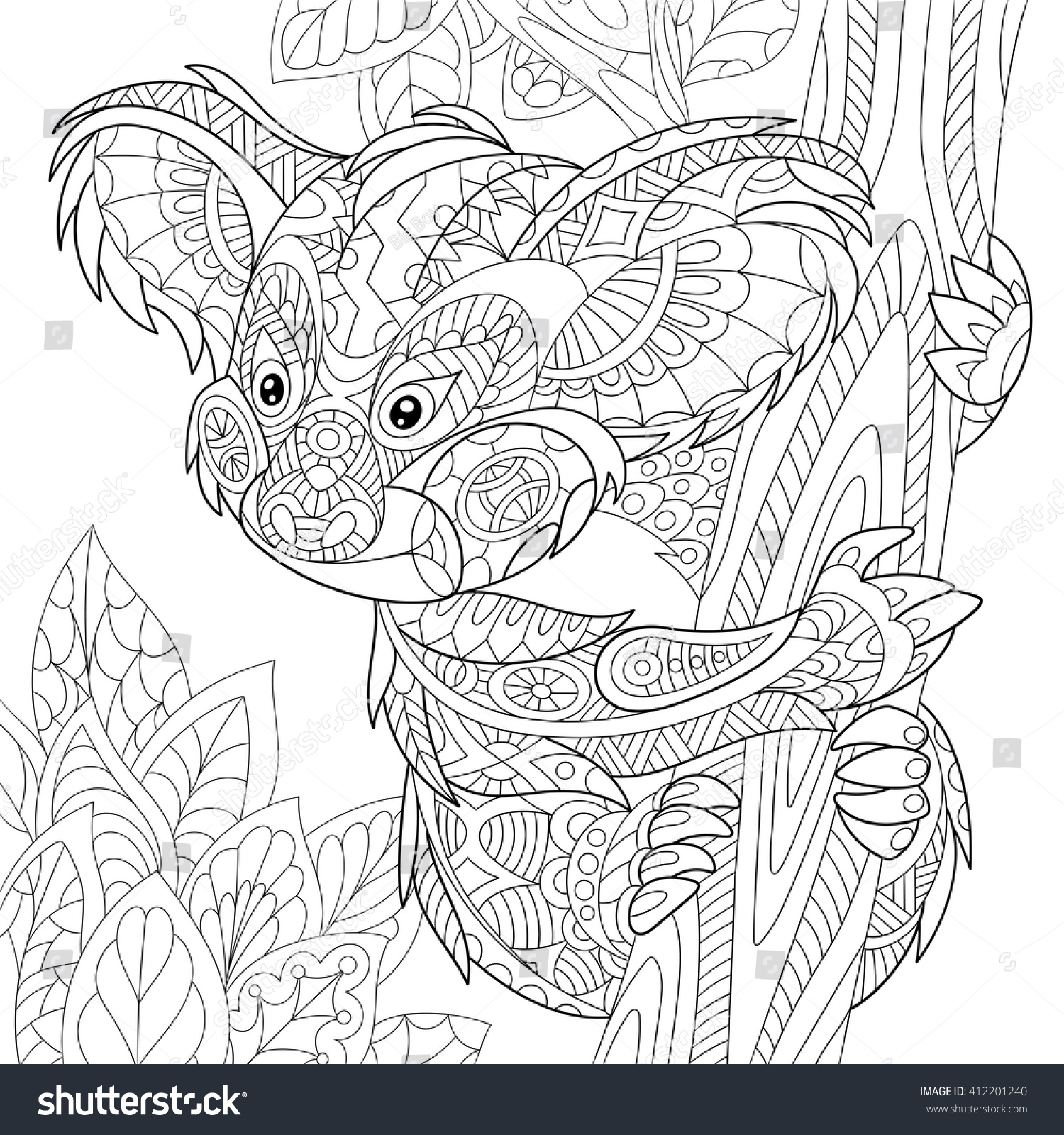 Zentangle Stylized Cartoon Koala Bear Sitting Stock Vector Royalty