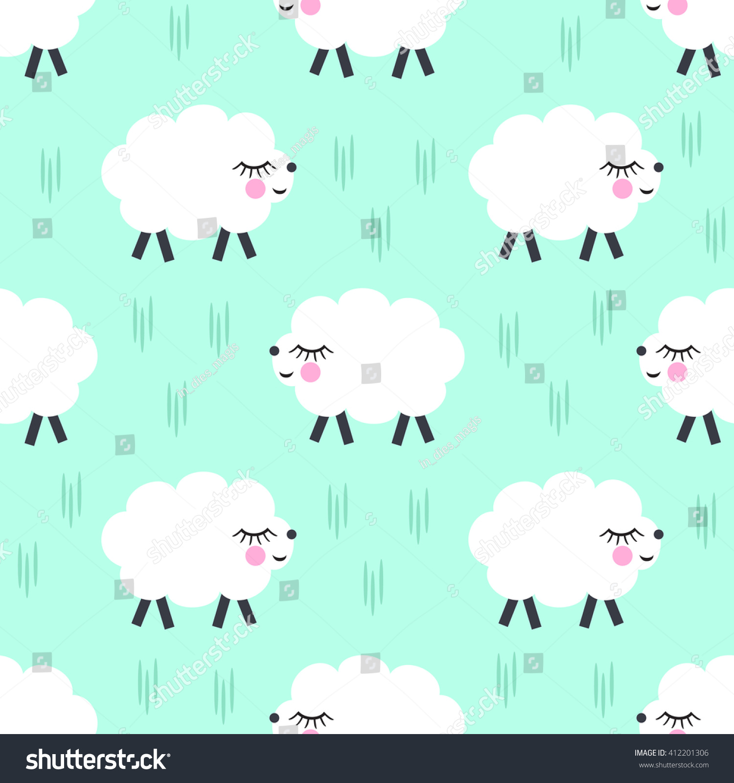 Smiling Sheep Seamless Pattern Background Vector Stock Vector