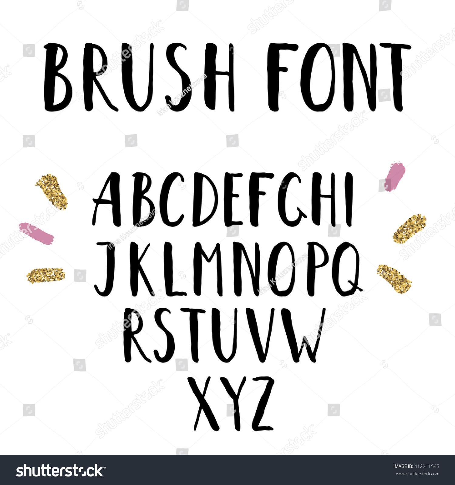 Hand Drawn Brush Font Uppercase Hand Stock Illustration ...