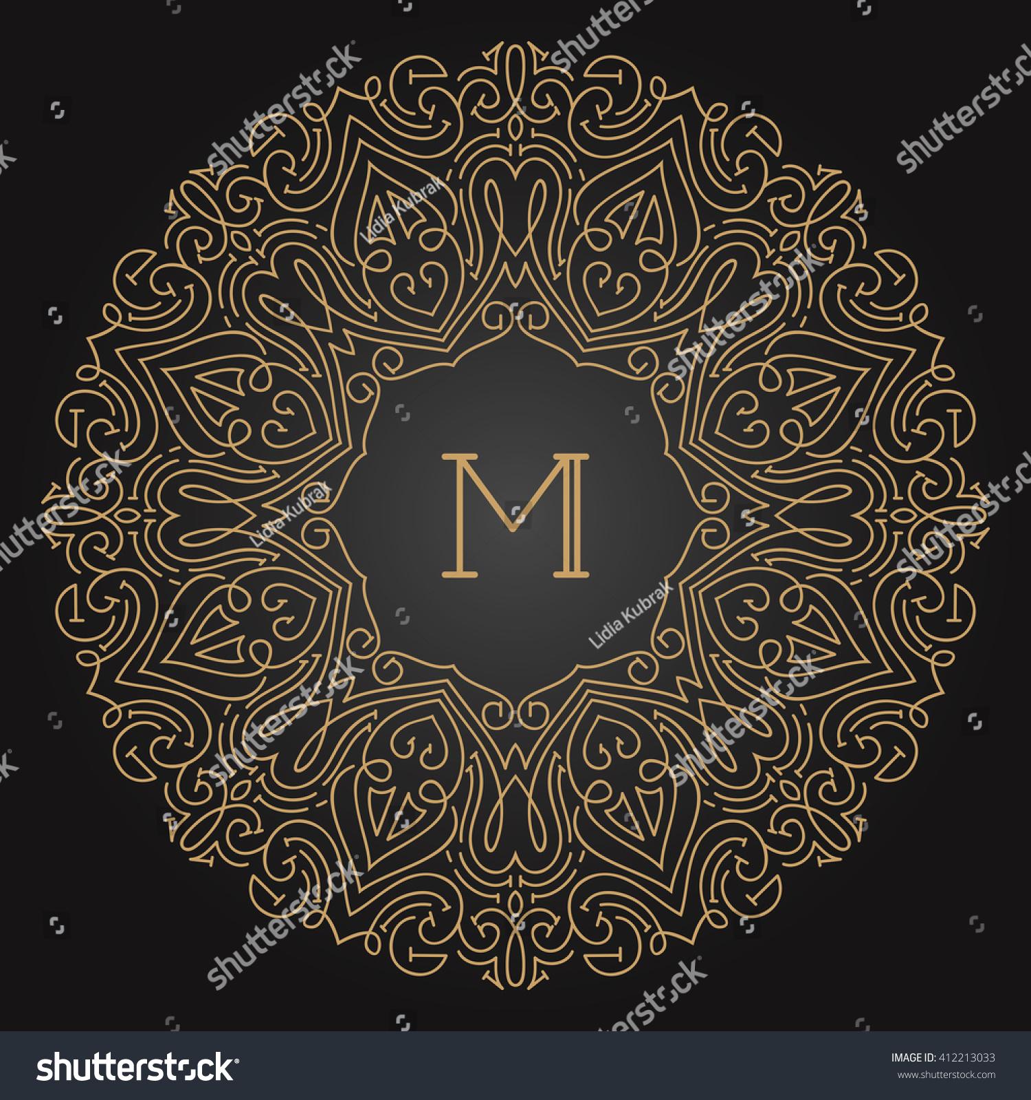 Art Nouveau Text Frame Mono Line Stock Vector 412213033
