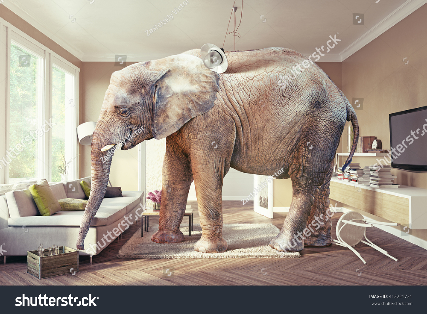 elephant in living room big elephant living room stock photo 412221721 16865