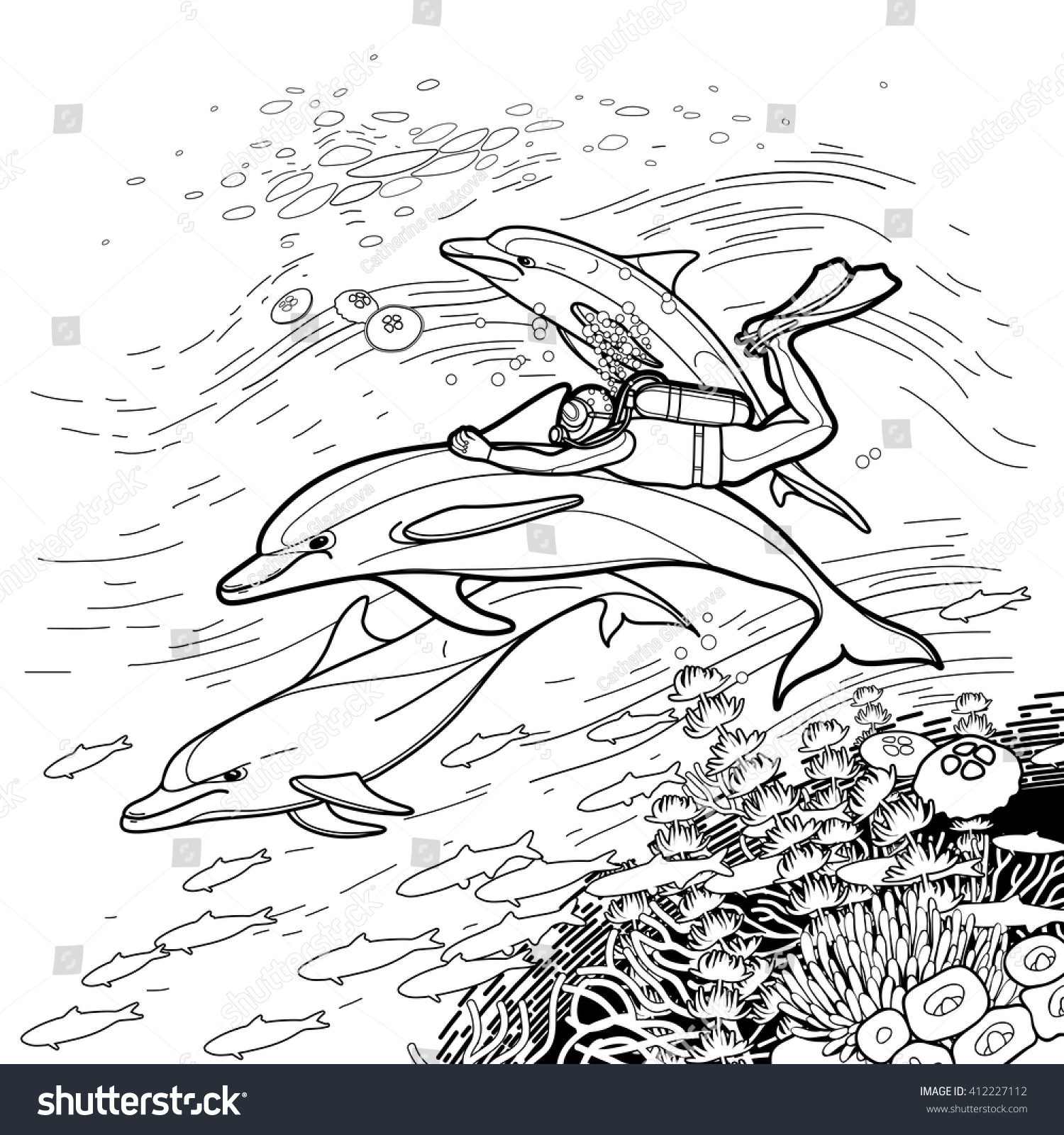 graphic scuba diver riding dolphin over stock vector 412227112