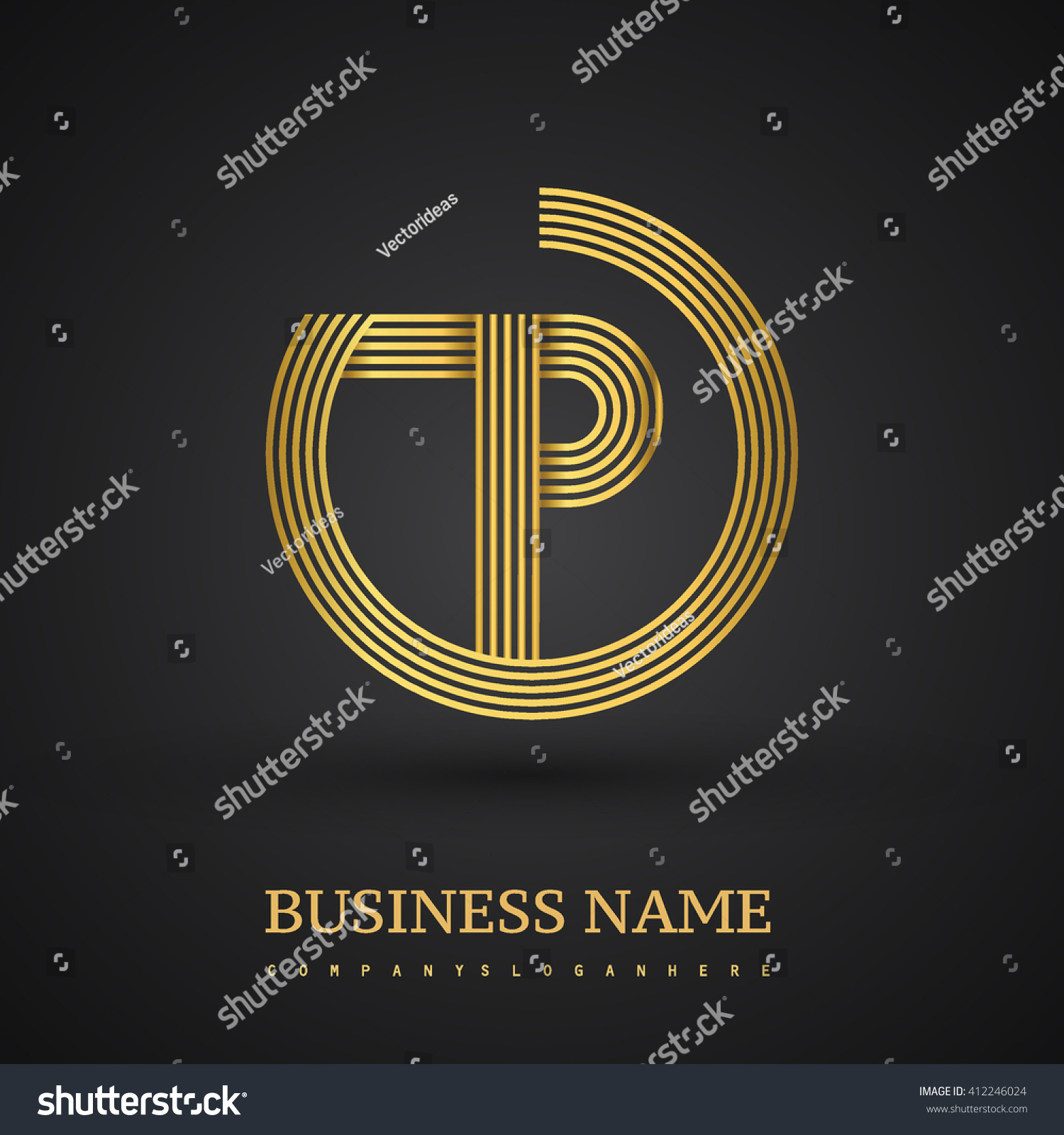 Elegant Gold Letter P Symbol Vector Stock Photo Photo Vector