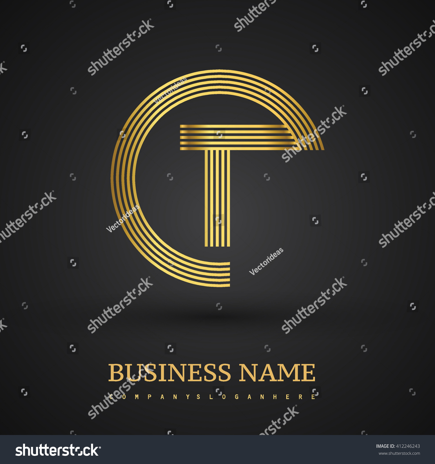 Elegant gold letter t symbol vector stock vector 412246243 elegant gold letter t symbol vector logo design template elements for your business or company buycottarizona Image collections