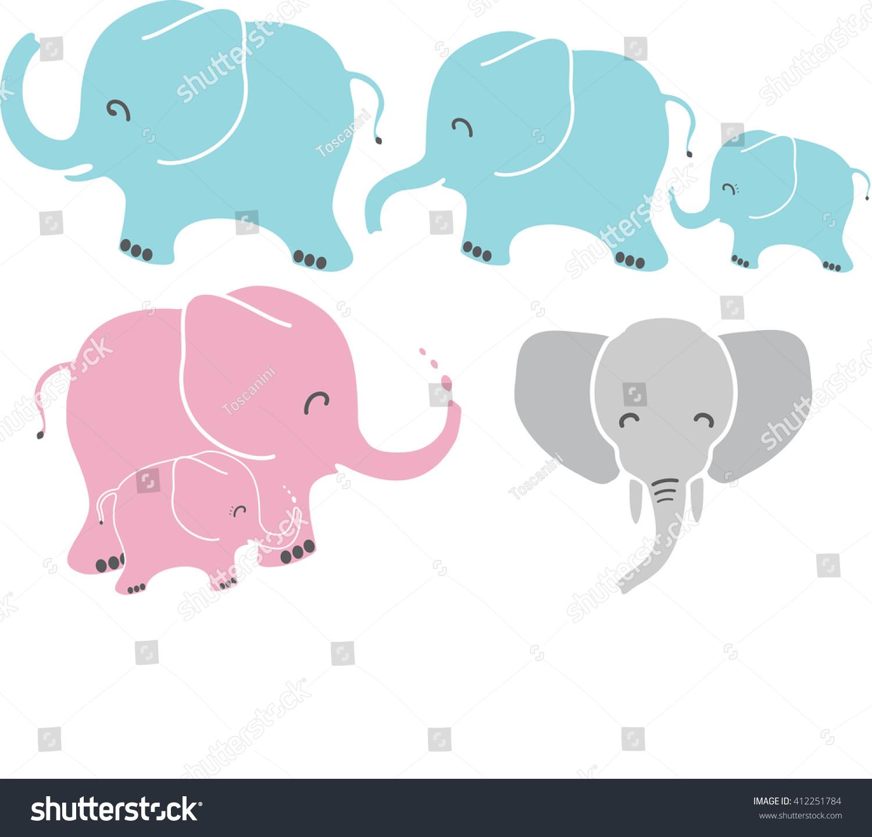 cute baby mom dad elephant vector stock vector 412251784