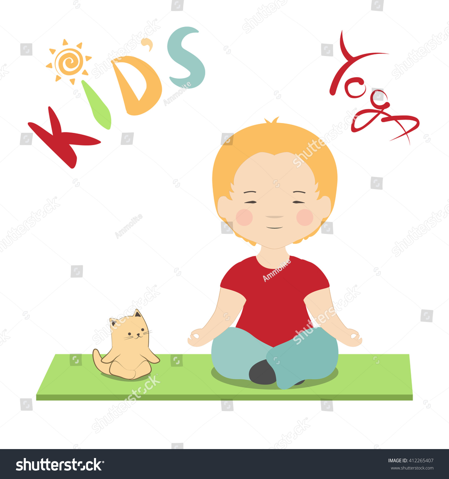 Vector Illustration Little Boy And Cat Doing Lotus Pose Meditating Kid Yoga Poster