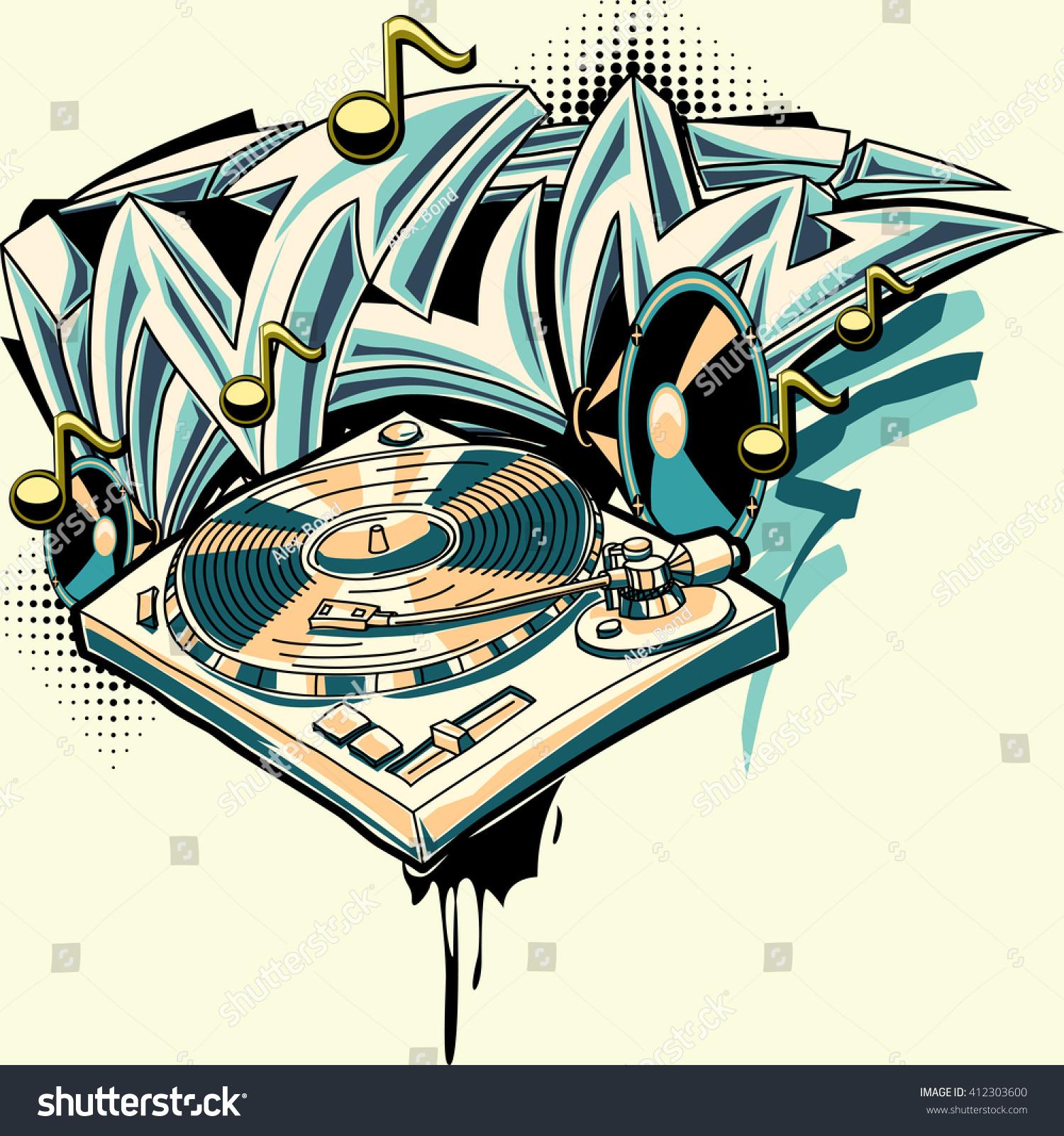 Music design turntable and graffiti arrows