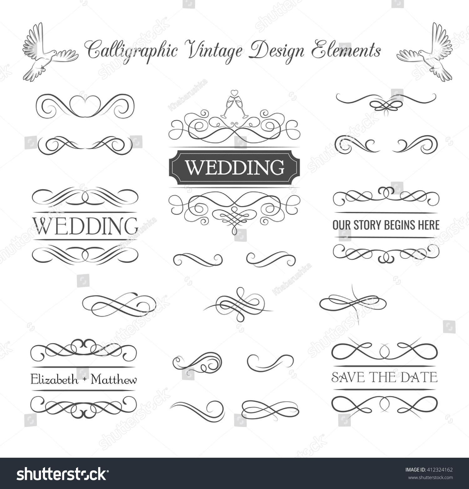 Decorative Wedding Invitation Badge 7: Wedding Ornaments Decorative Elements Vintage Ribbon Stock
