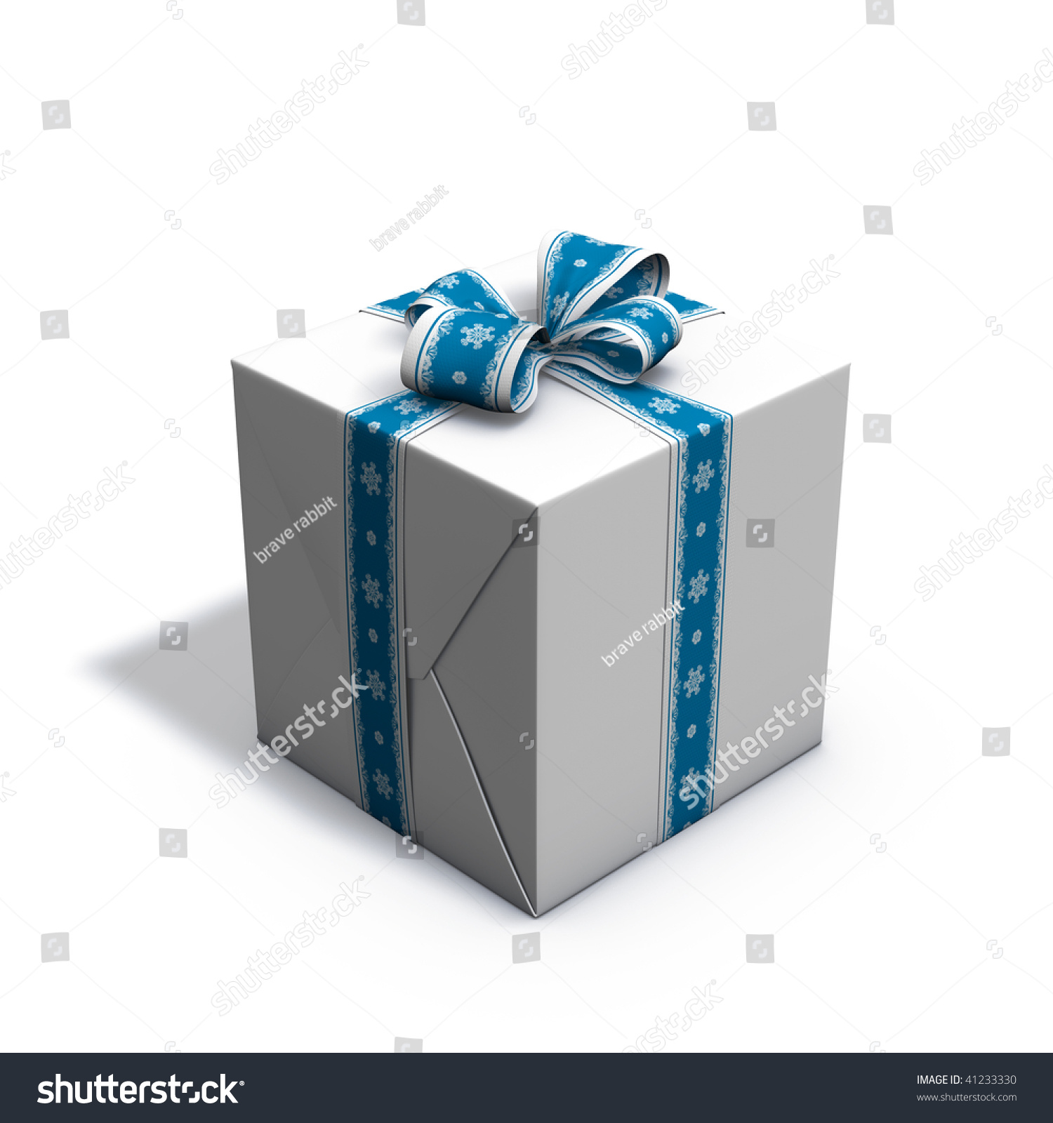 3d rendering/illustration of a blue and white christmas present | EZ ...