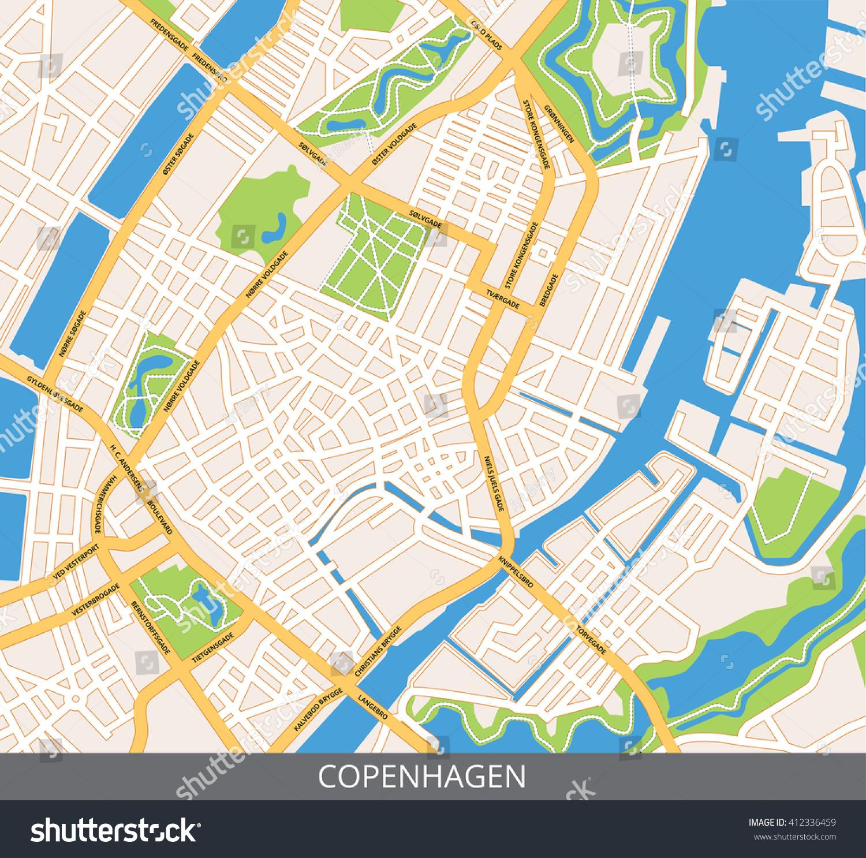 vector color map copenhagen capital denmark stock vector 412336459
