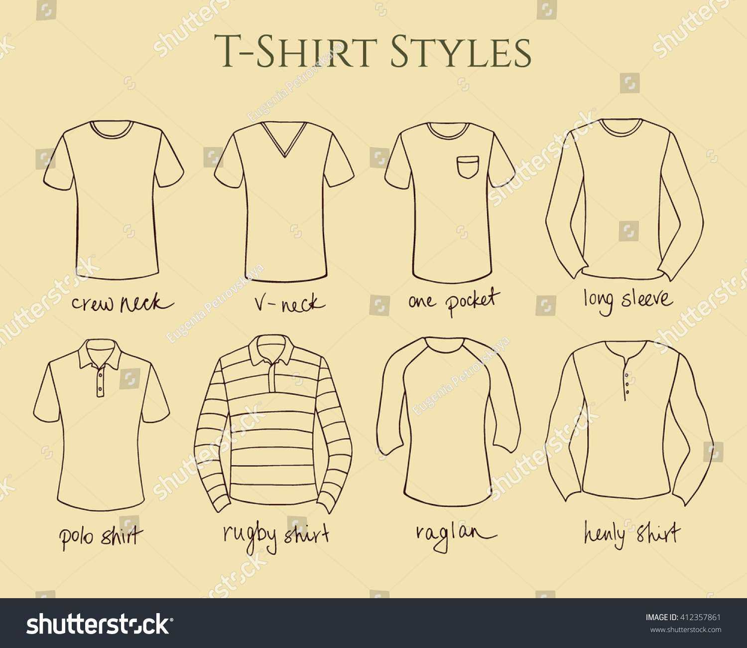 Shirt design types - Vector Visual Guide Of Male T Shirt Styles Vector Illustration Of Hand Drawn T
