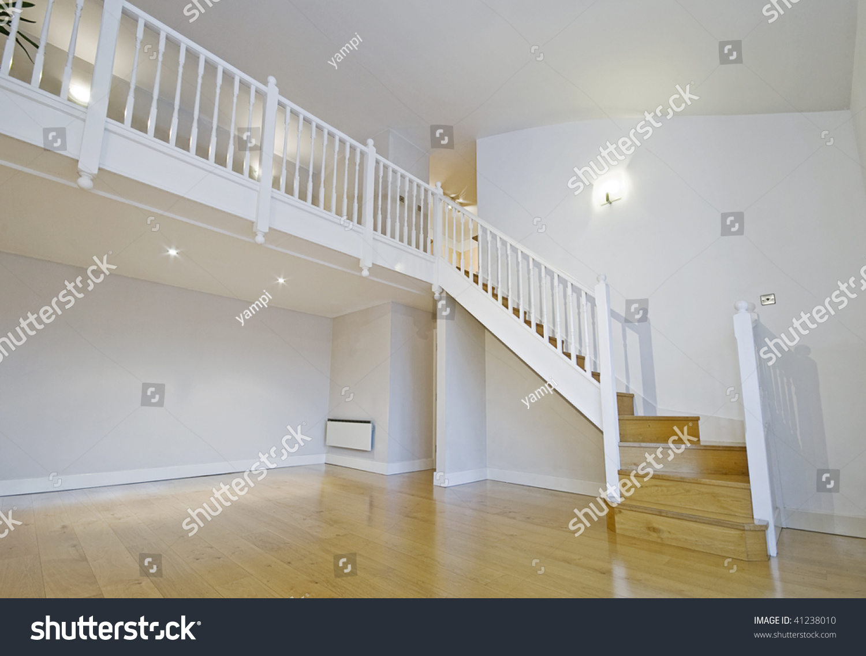 Split Level Living Room Wooden Stair Stock Photo (Edit Now ...