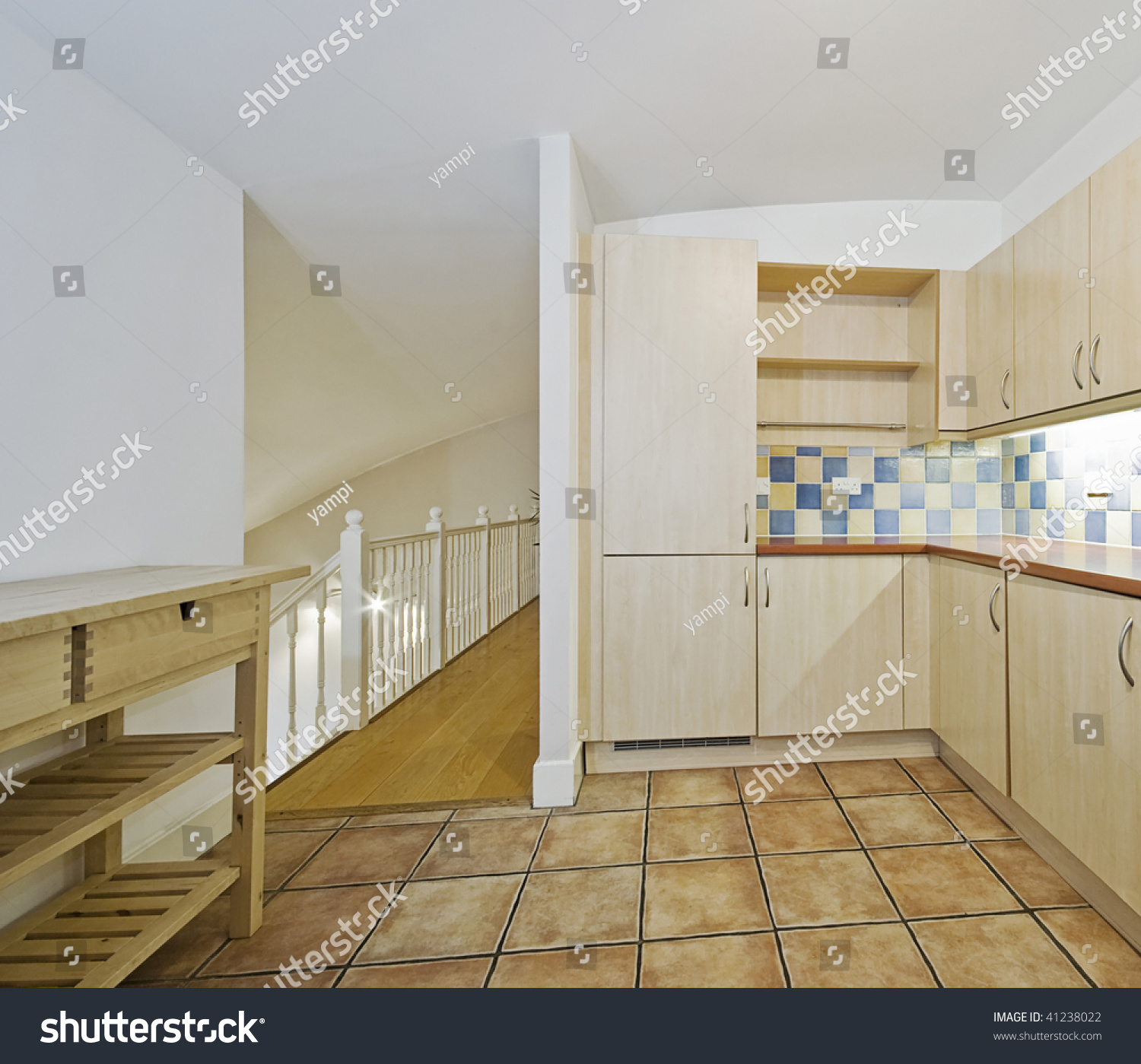 How To Divide An Open Plan Space 9 Ideas: Open Plan Kitchen To A Split Level Living Room Stock Photo