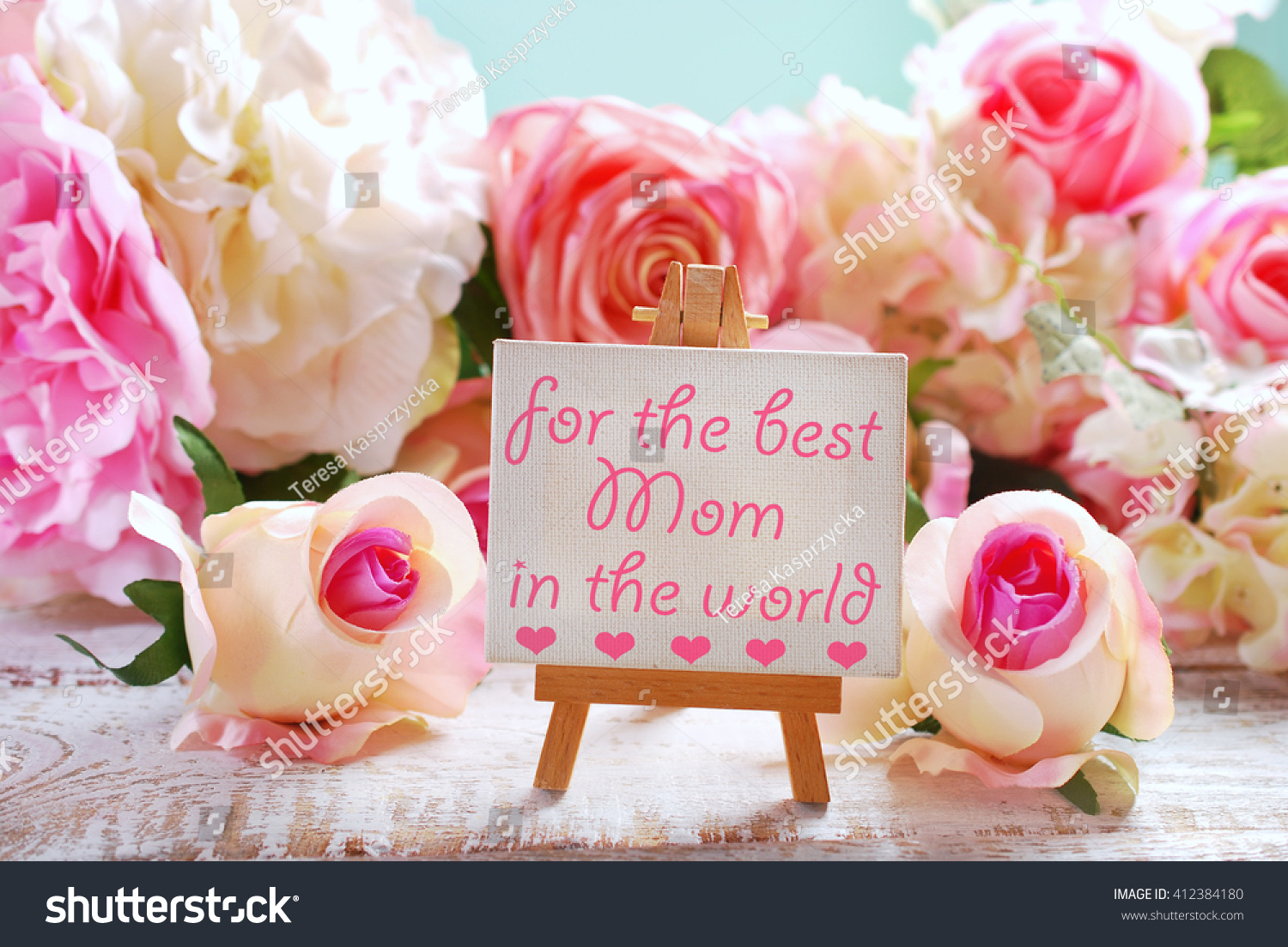 Small Easel Standing Among Roses Greetings Stock Photo Edit Now