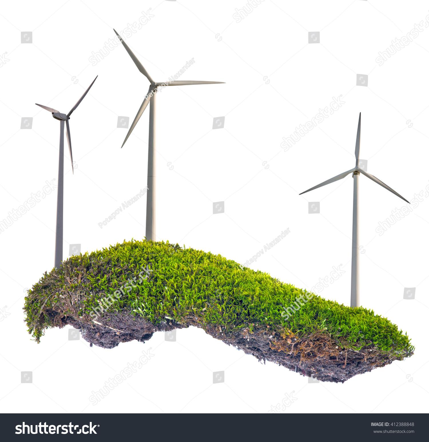 Wind Power Generator Green Moss Isolated Stock