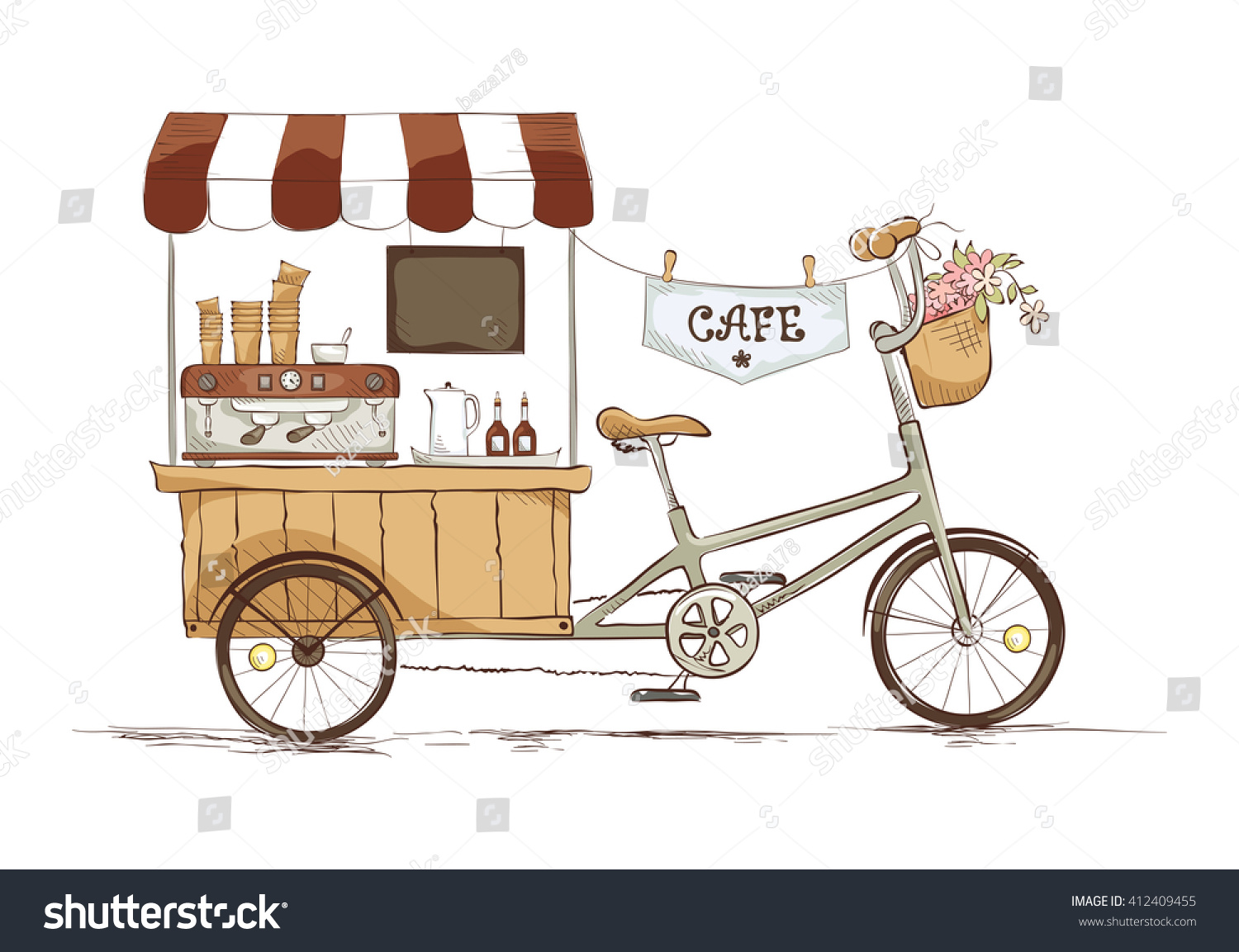 Coffee house on bicycle. Vector illustration on the theme of street food